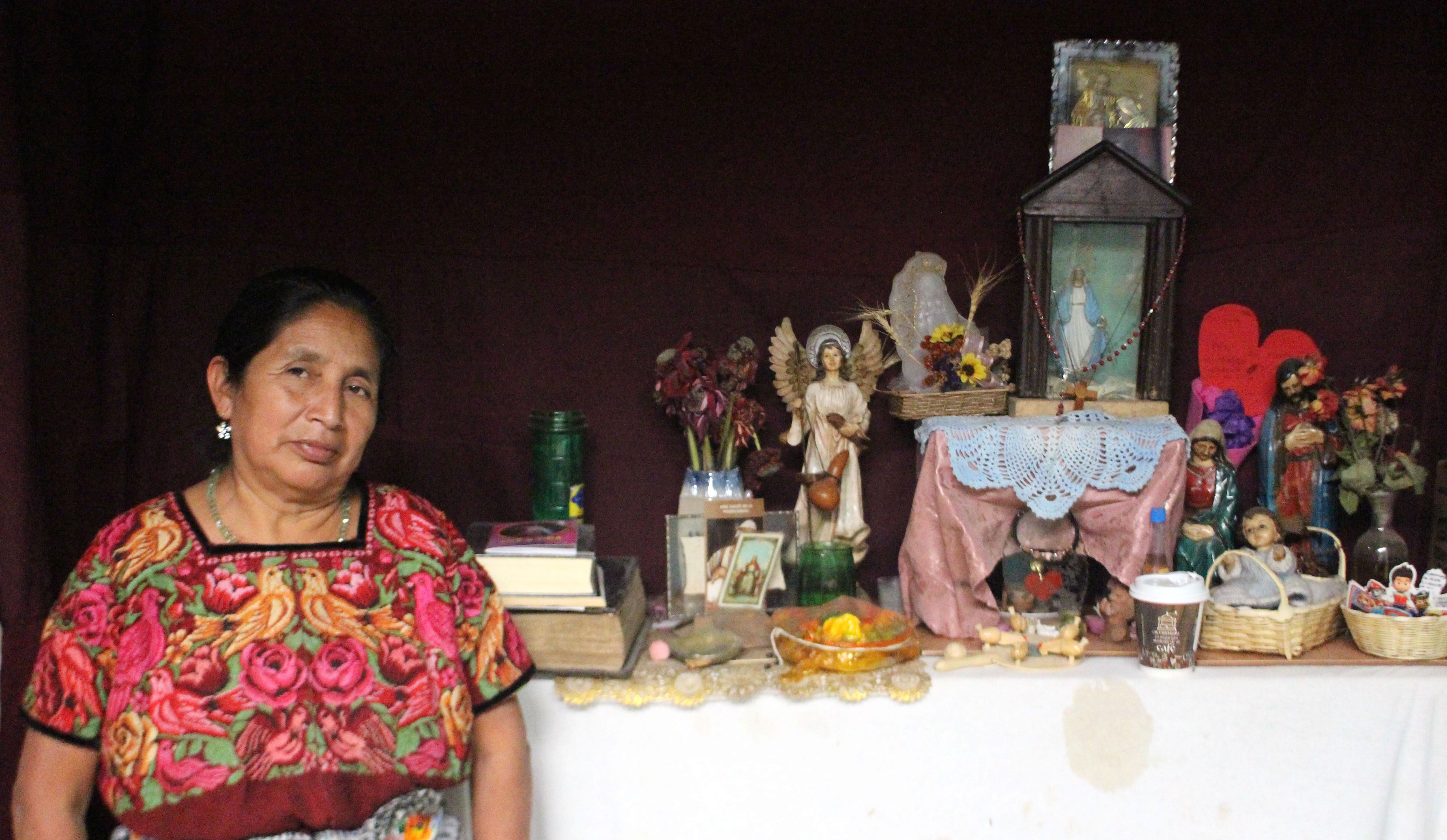 Rosa Chex at her at-home altar used for healing ceremonies.