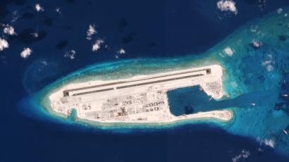 A Chinese military installation on Fiery Cross reef in the South Pacific on 5/1/16.