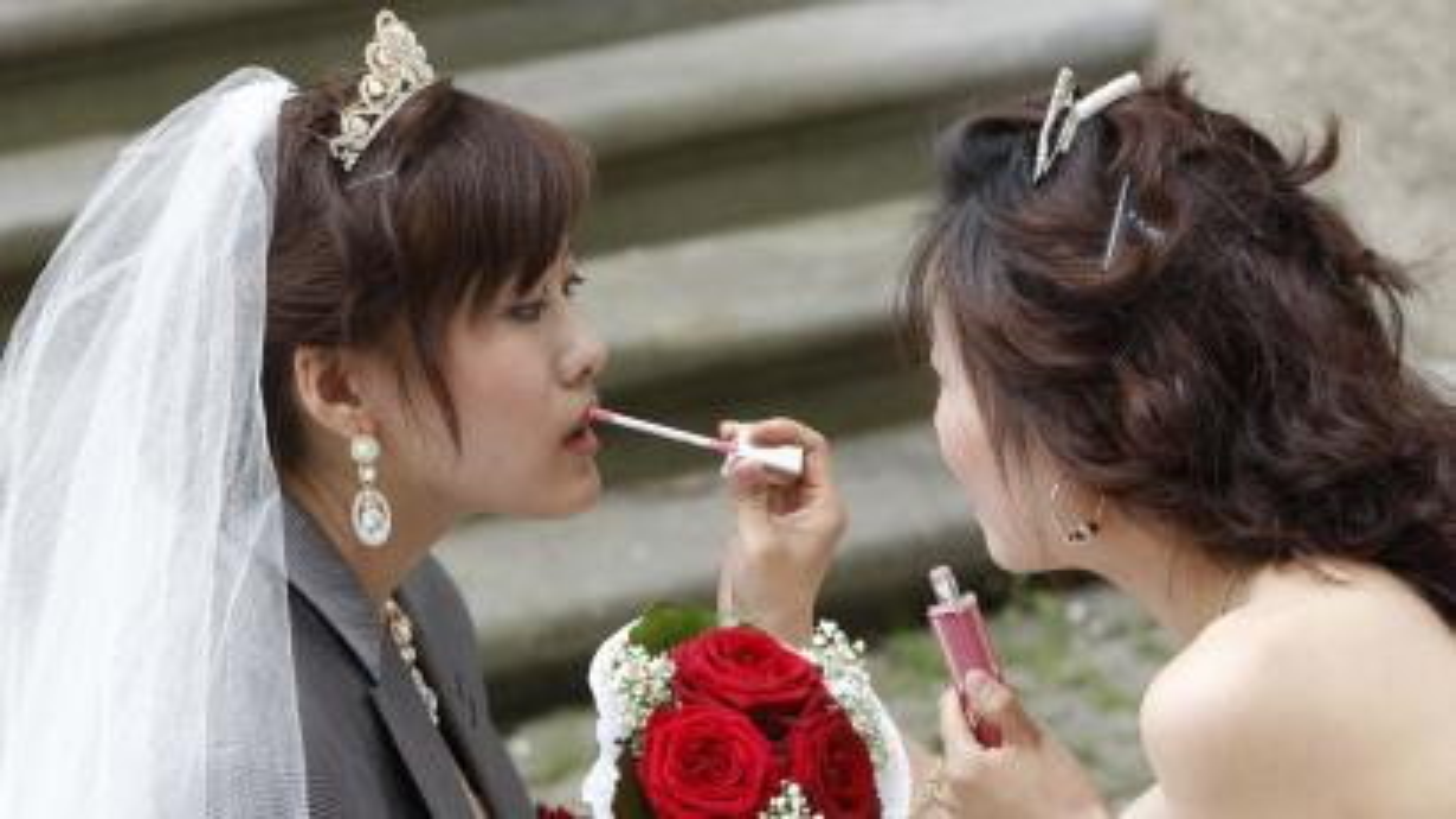 Chinese bride and bridesmaid