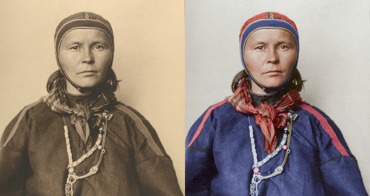 Black and white and colorized photographs of a laplander in 1910s.