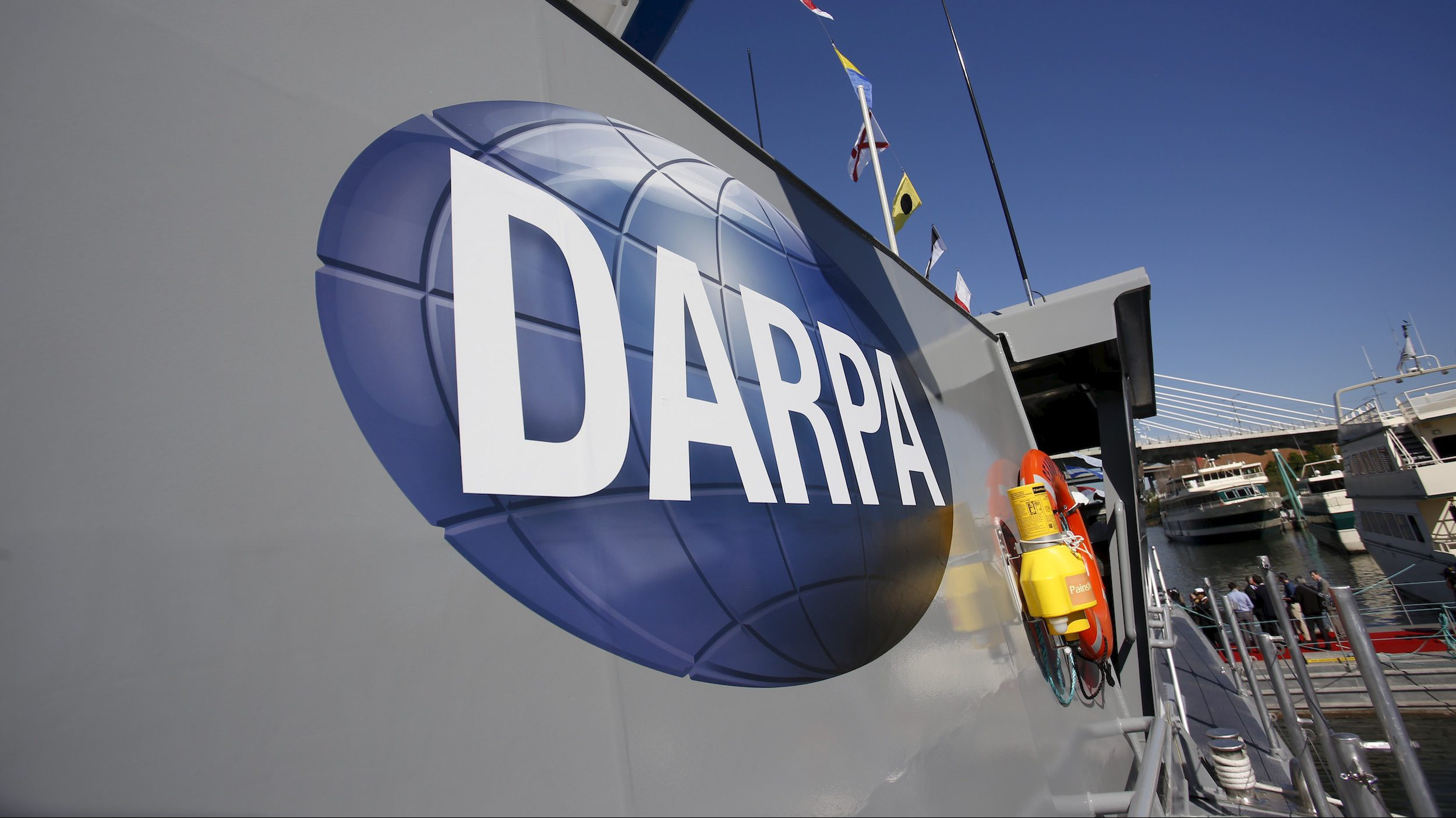 """The autonomous ship """"Sea Hunter"""", developed by DARPA, is shown docked in Portland, Oregon after its christening ceremony, April 7, 2016."""