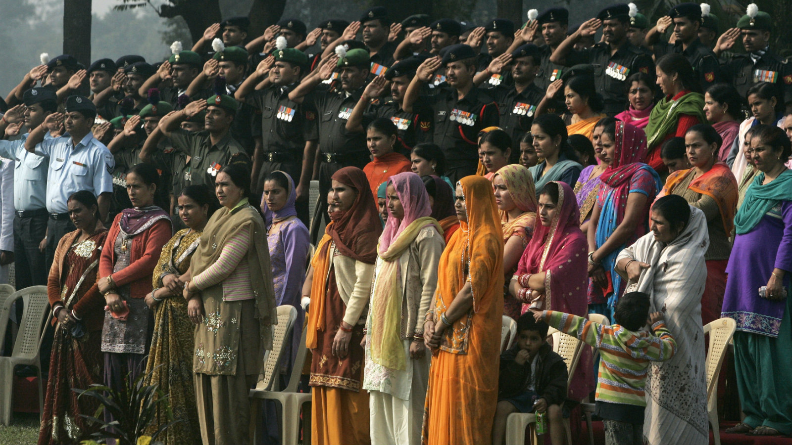 Indian Army and Indian Air Force soldiers and their wives and children  pay tribute to war heroes on Vijay Divas, or Victory Day in Kolkata, India.