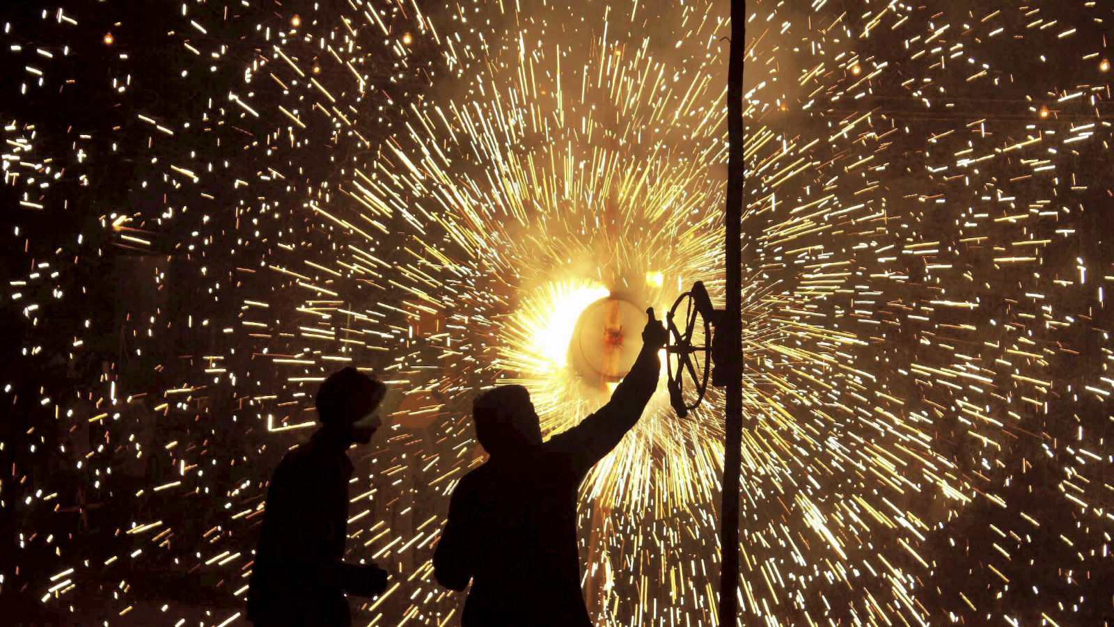 People light fireworks during Diwali celebrations in Gurgaon, India. Diwali, the festival of lights was celebrated on Oct. 17.