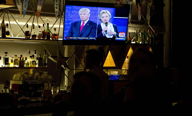 Donald Trump and Hillary Clinton debate on TV