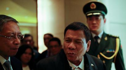 President of the Philippines Rodrigo Duterte arrives at a hotel in Beijing
