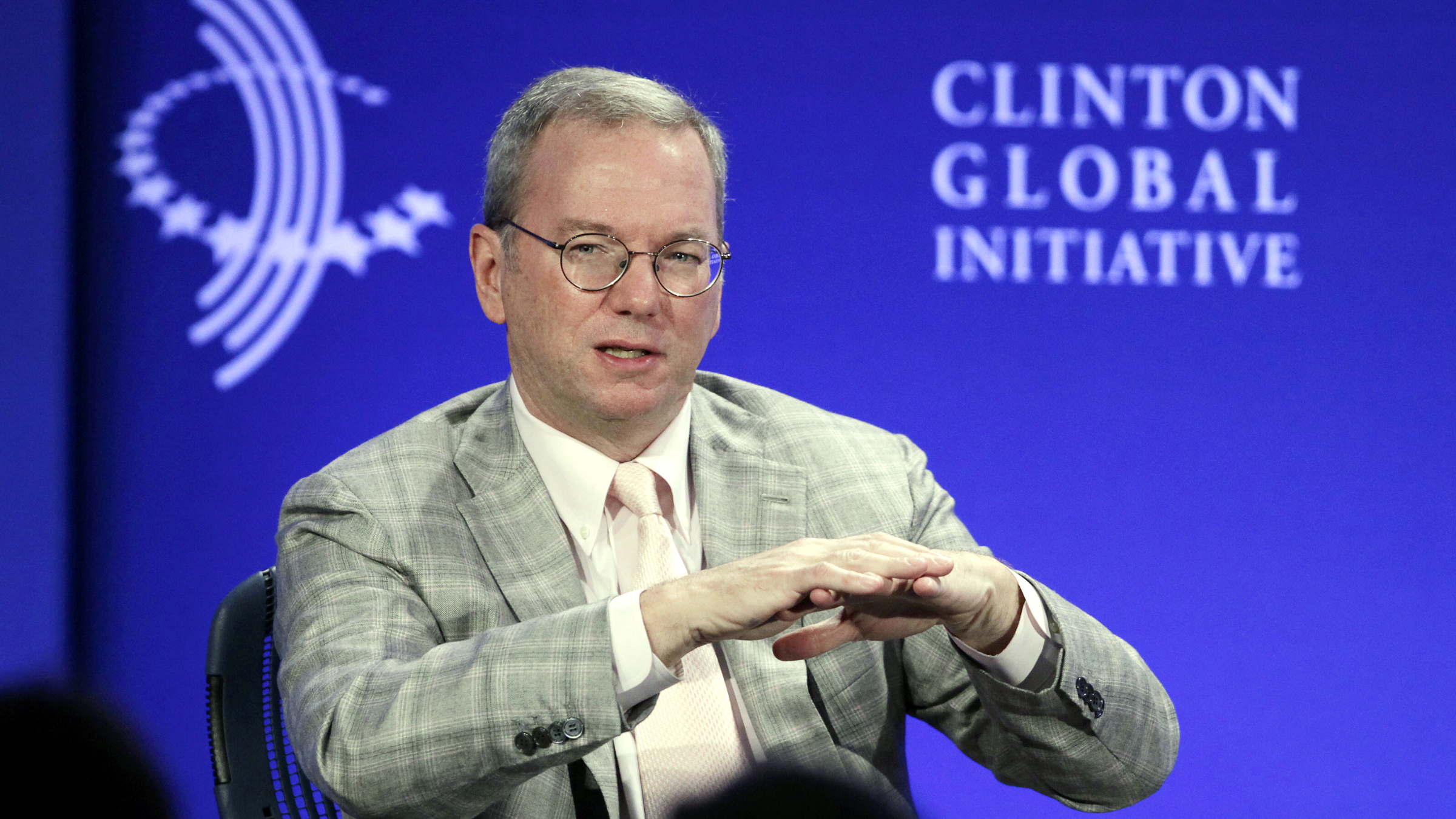 """Eric Schmidt, Chairman of Google, participates in the panel discussion, """"The Pulse of Today's Global Economy,"""" at the Clinton Global Initiative, Thursday, Sept. 26, 2013 in New York. )"""