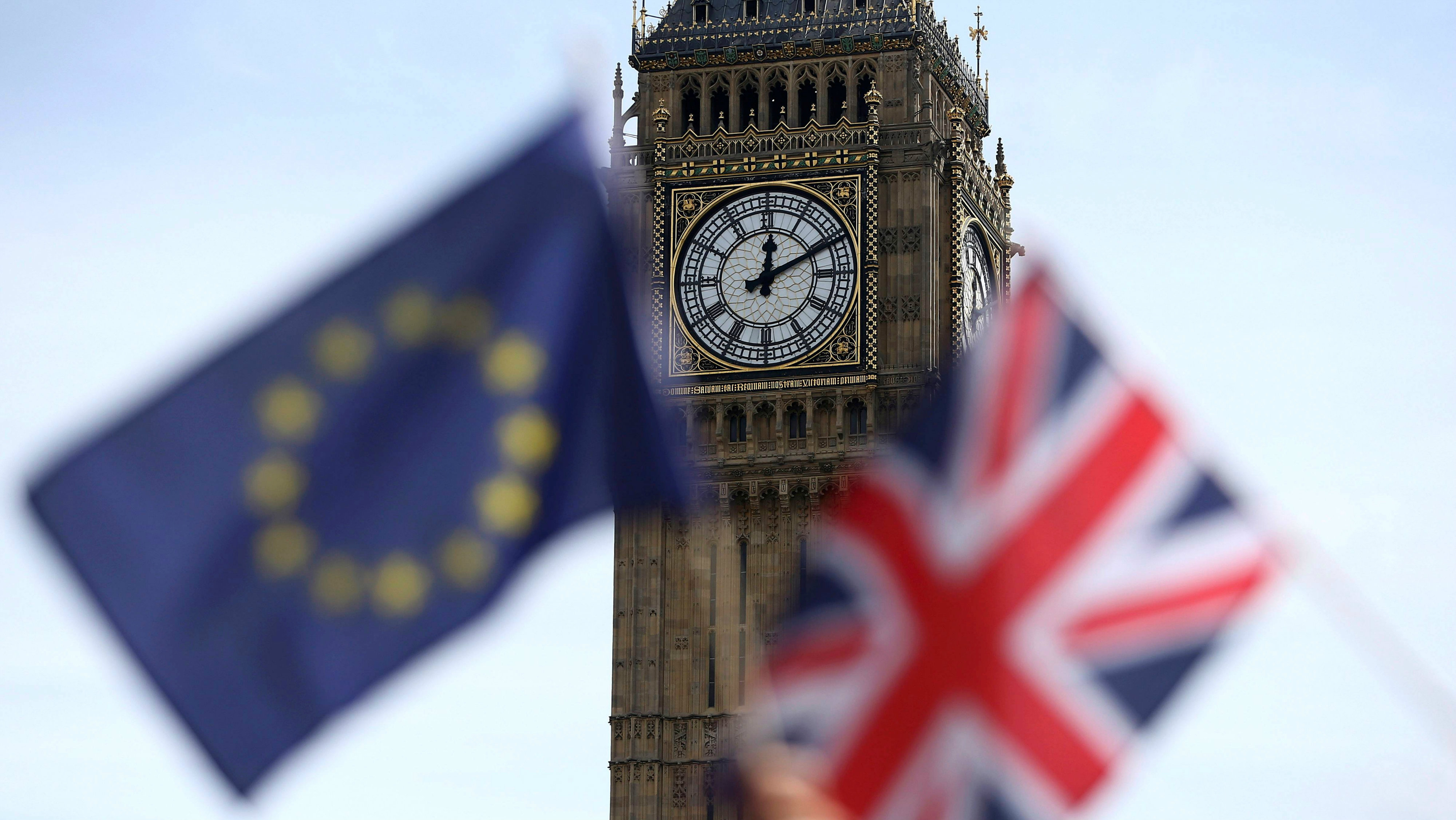 EU and Union flags in front of Big Ben.