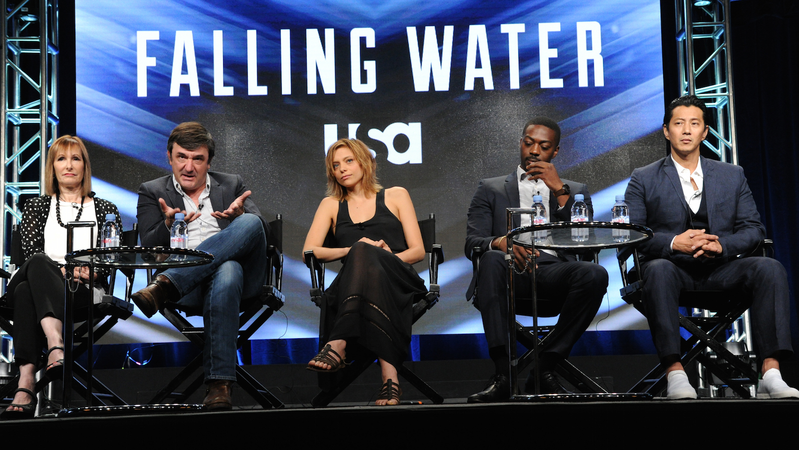 "Producers Gale Anne Hurd, from left, Blake Masters, Lizzie Brochere, David Ajala and Will Yun Lee participate in USA network's ""Falling Water"" panel during the NBCUniversal Television Critics Association summer press tour on Wednesday, Aug. 3, 2016, in Beverly Hills, Calif. (Photo by Richard Shotwell/Invision/AP)"