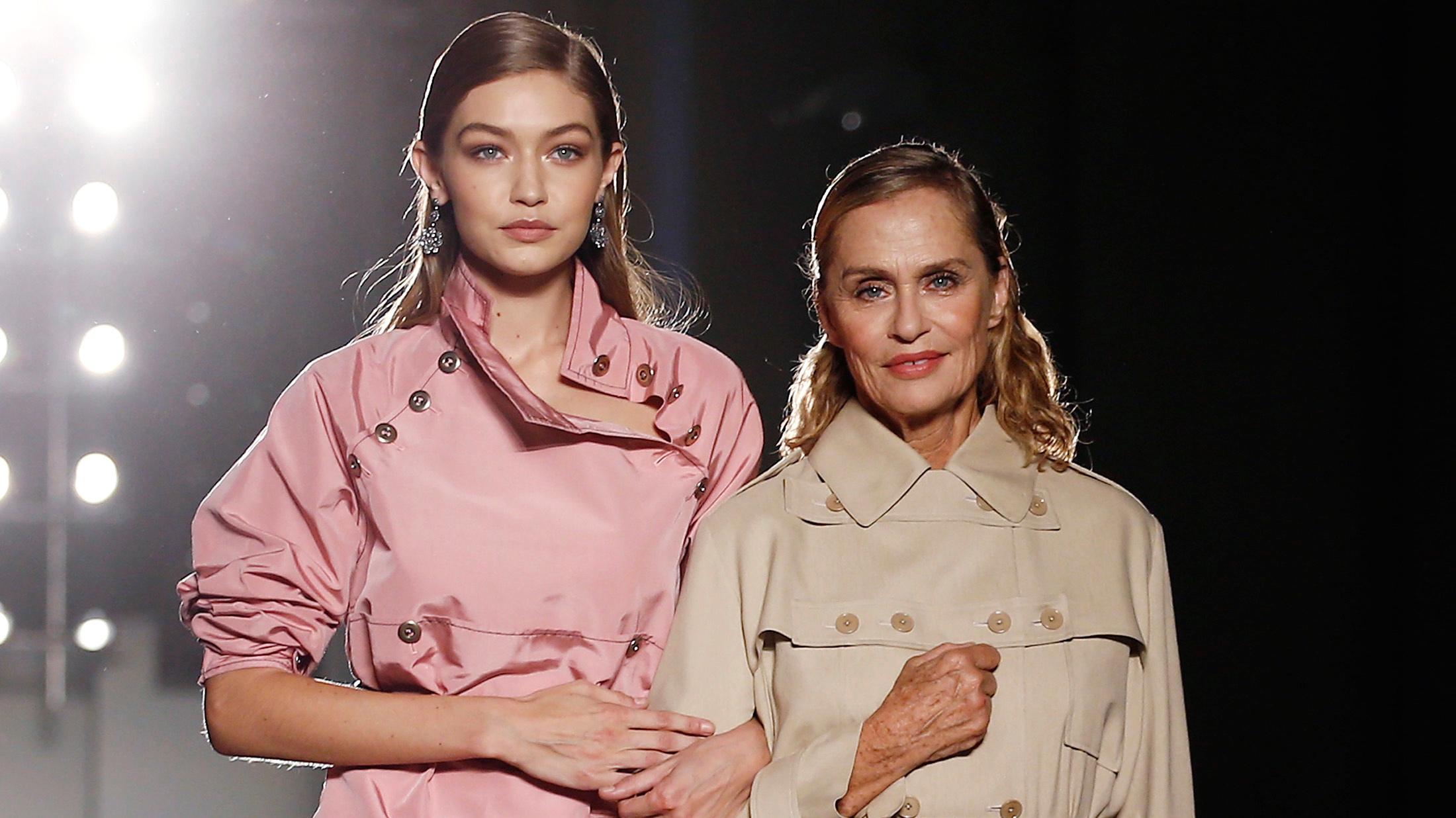 Models Gigi Hadid (L) and Lauren Hutton present creations at the Bottega Veneta Spring/Summer 2017 show in Milan, Italy.