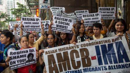 Filipinos protest racism in Hong Kong