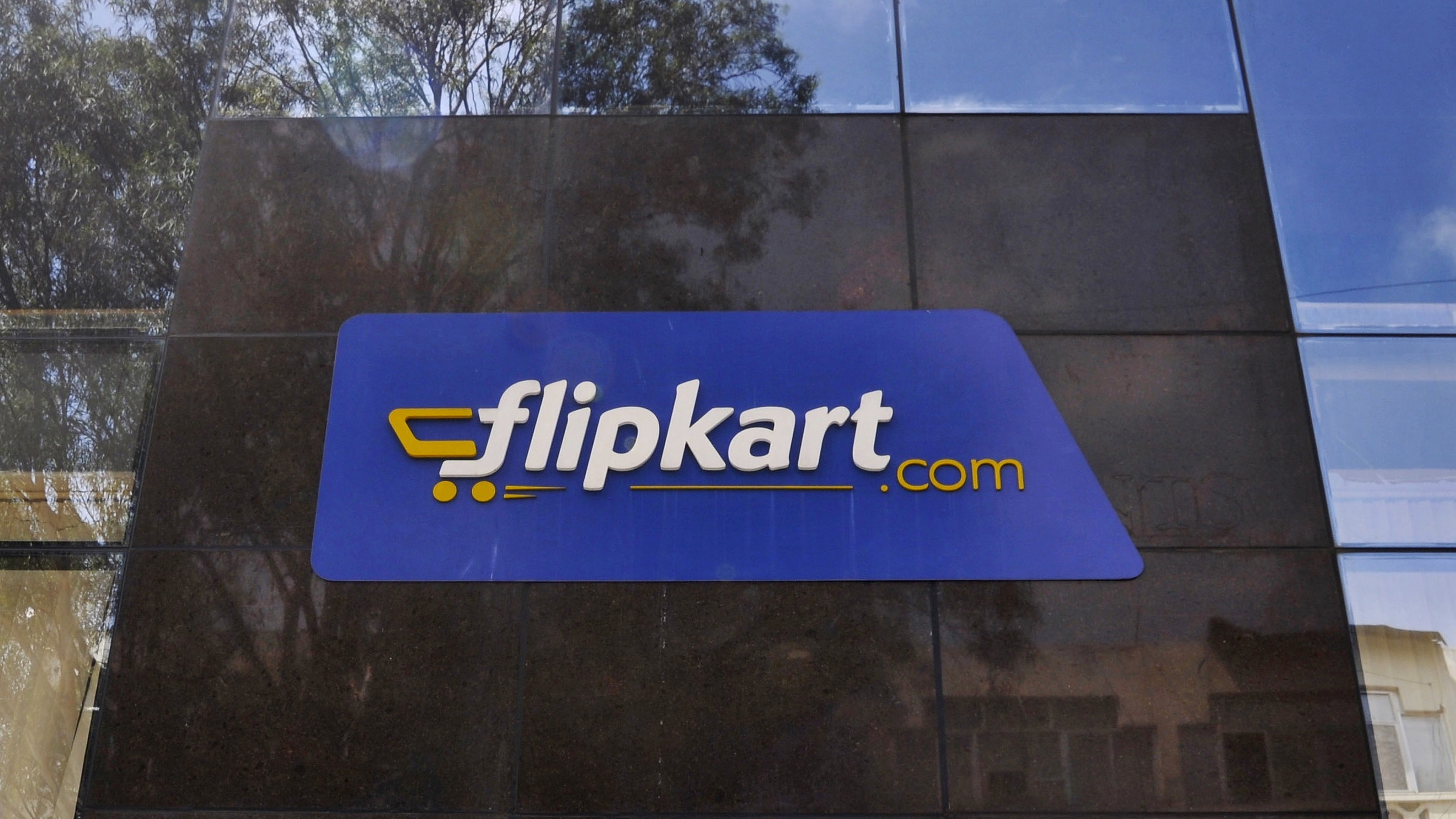 The logo of India's largest online marketplace Flipkart is seen on a building in Bengaluru
