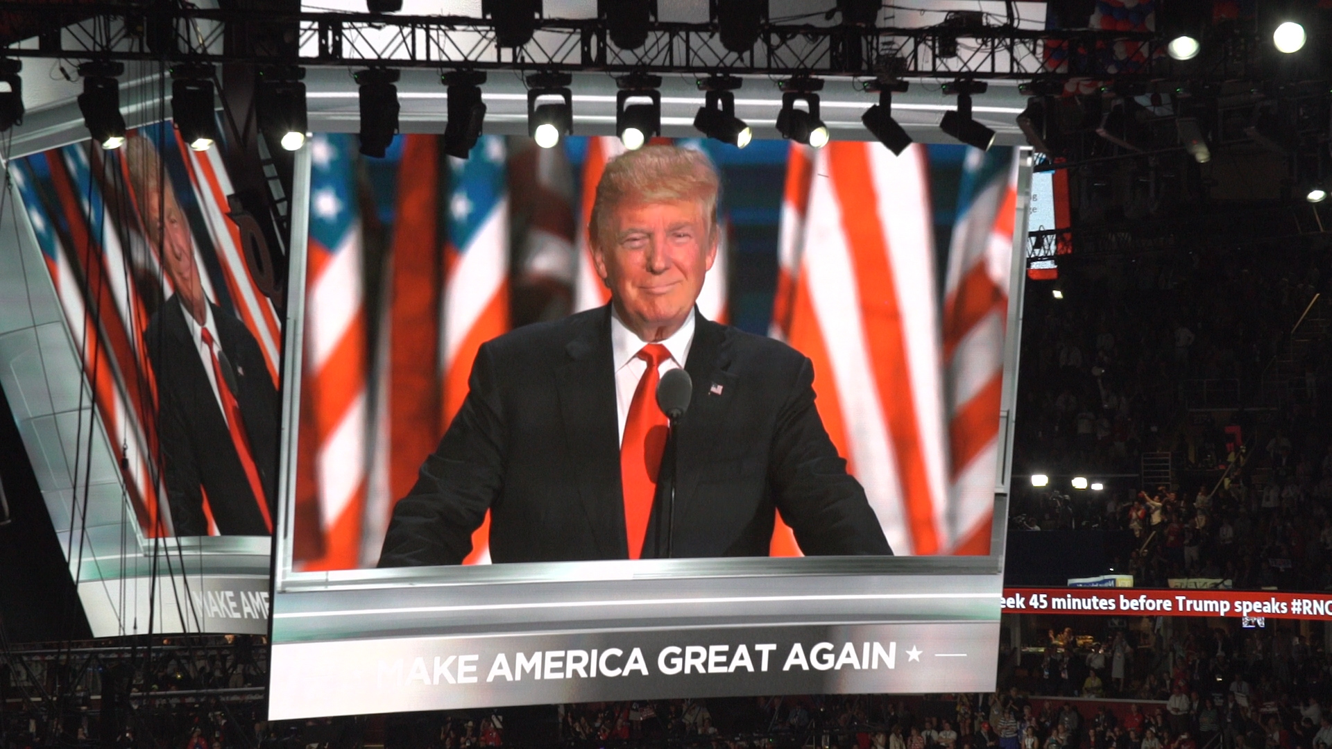 Republican presidential candidate Donald Trump accepts the GOP nomination at the Republican National Convention in Cleveland, OH.