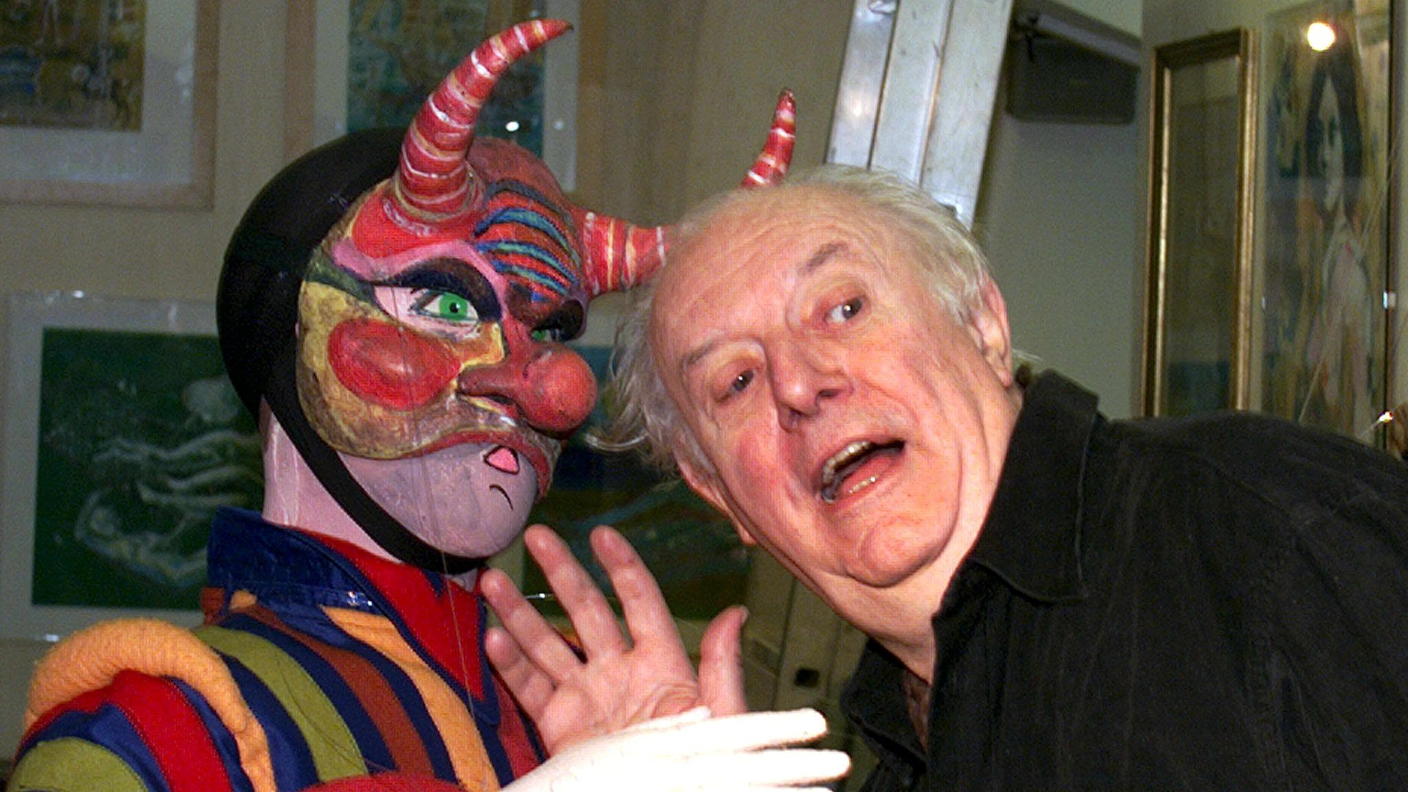 """Nobel Literature laureate Dario Fo photographed at Rome's Ateneo Theatre during the presentation of """"Pupazzi con rabbia e sentimento"""" (Puppets with rage and feeling) exhibition on Monday 29 November, 1999. The event represents Dario Fo's and his wife Franca Rame's 60 years of theatre works."""