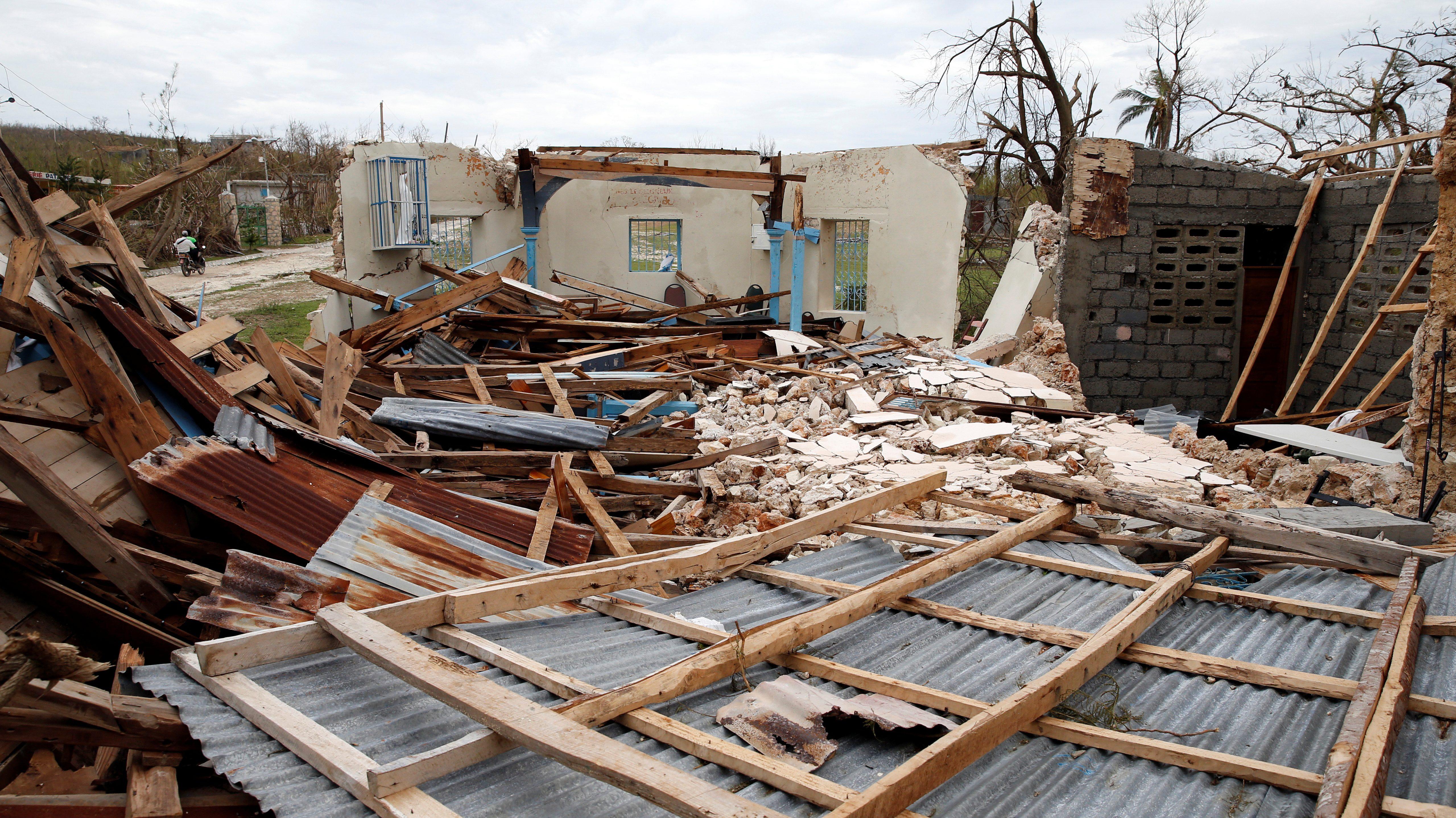 A destroyed church after Hurricane Matthew