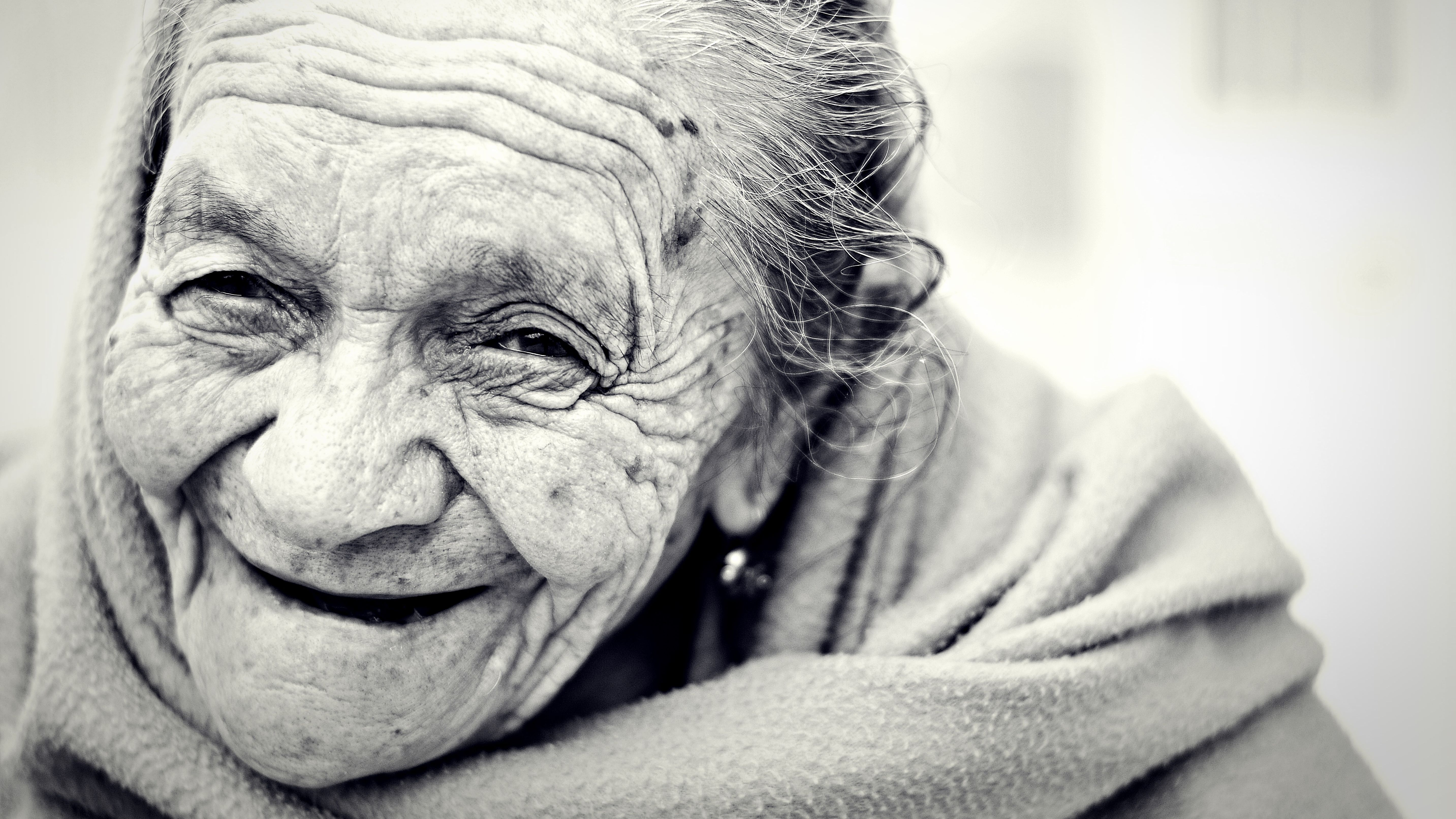 Smiling happy old woman