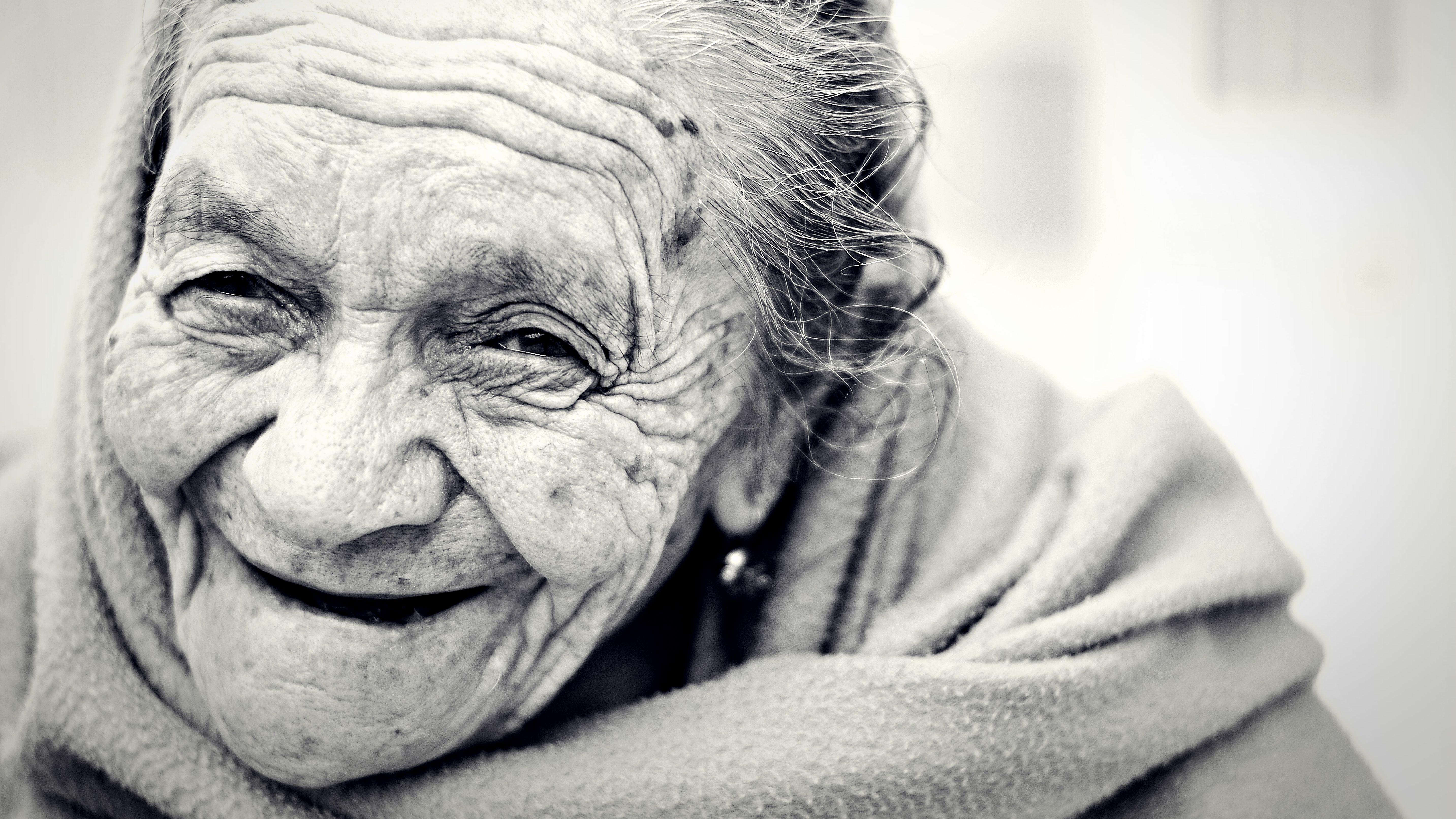 Smiling happy elderly woman
