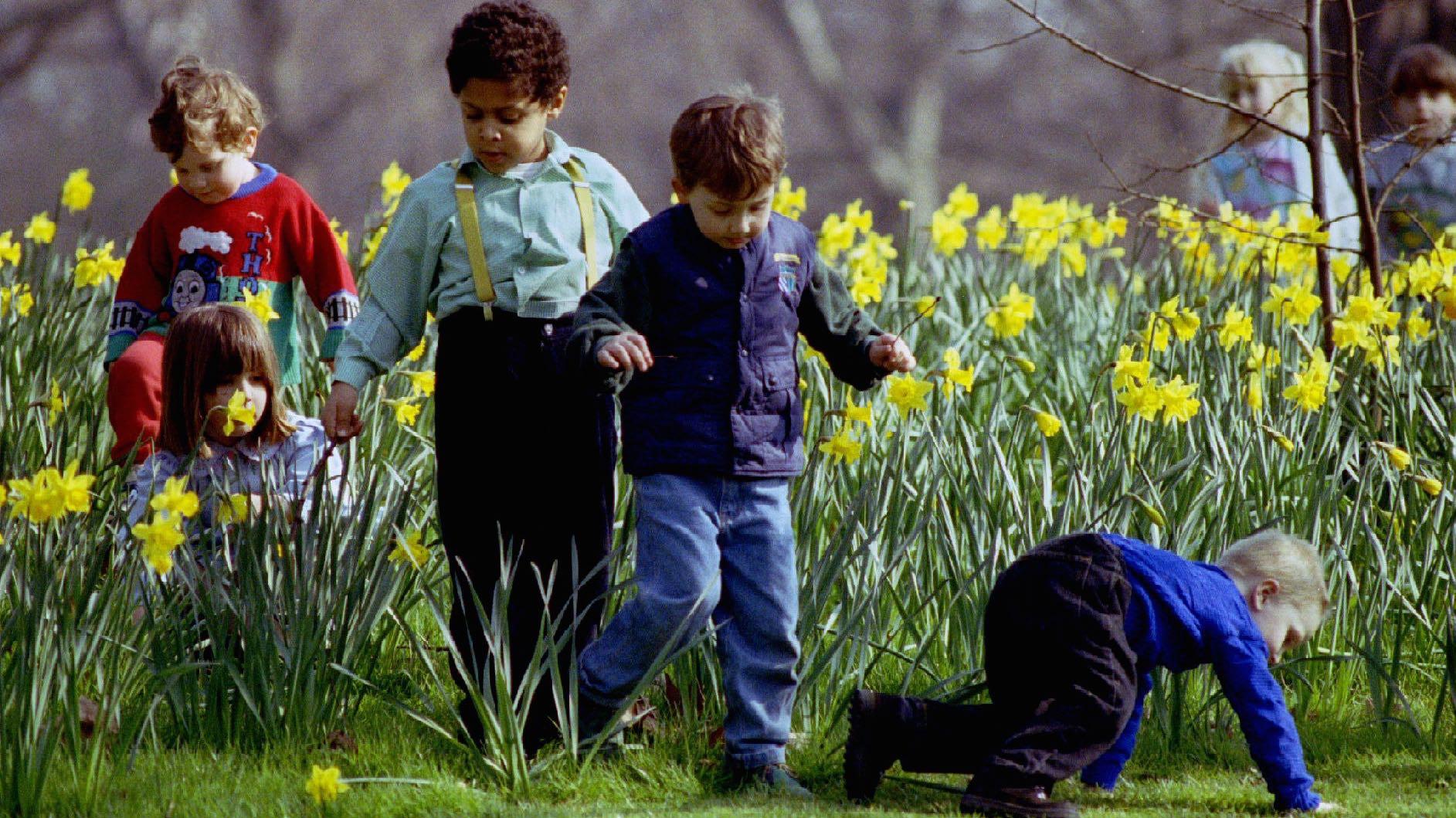 happy kids in spring