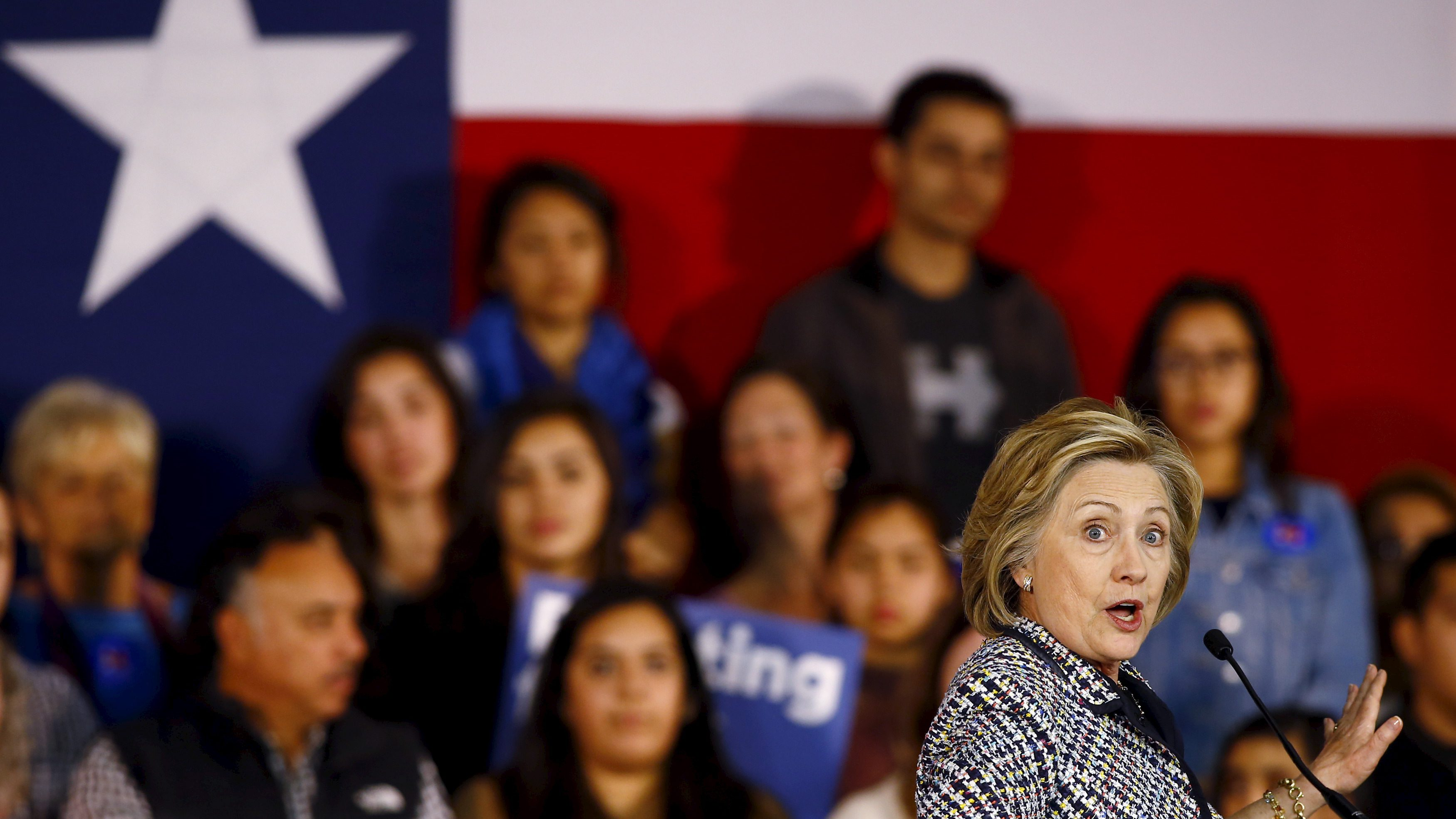 Democratic U.S. presidential candidate Hillary Clinton speaks in Dallas, Texas.