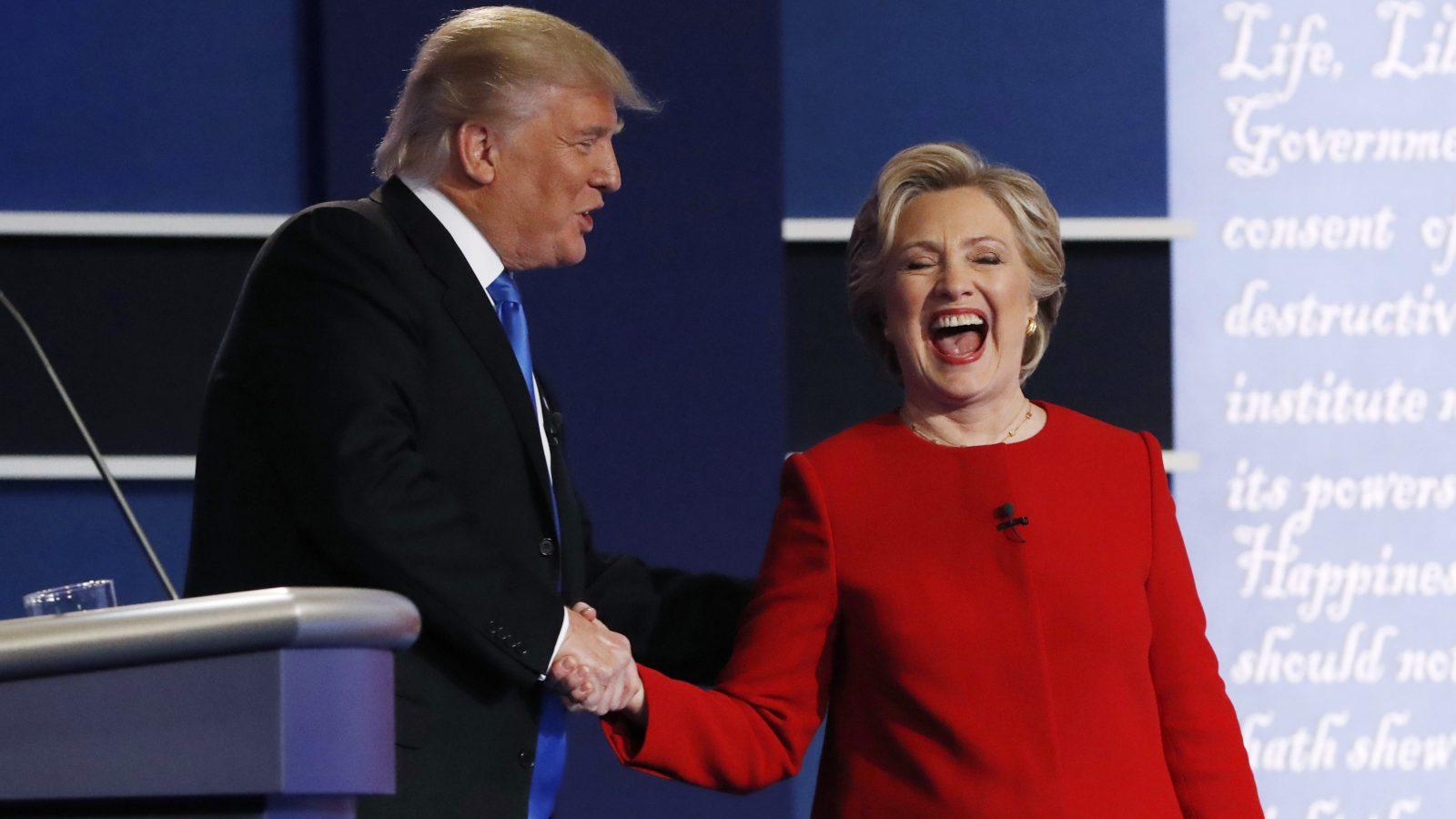 Hillary Clinton and Donald Trump talking.