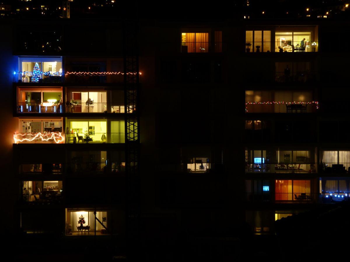 Decorated balconies in Lugano, Switzerland.