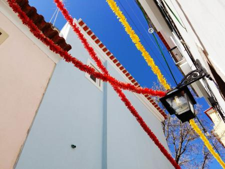 Decorations in Lisbon, Portugal's historical Alfama district.