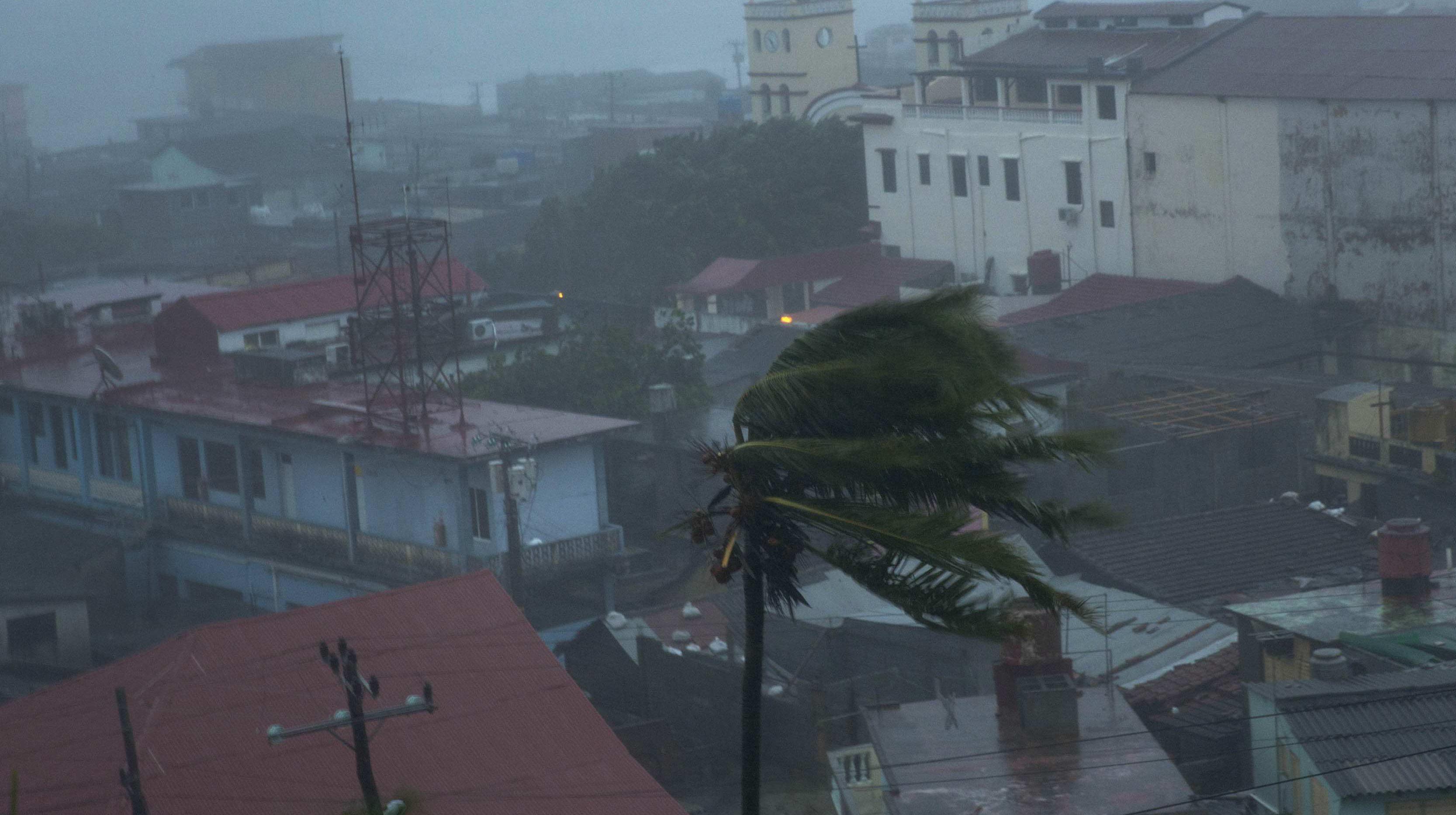 The high winds of Hurricane Matthew roar over Baracoa, Cuba on Oct. 4