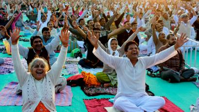 Laughter yoga practitioners in India.