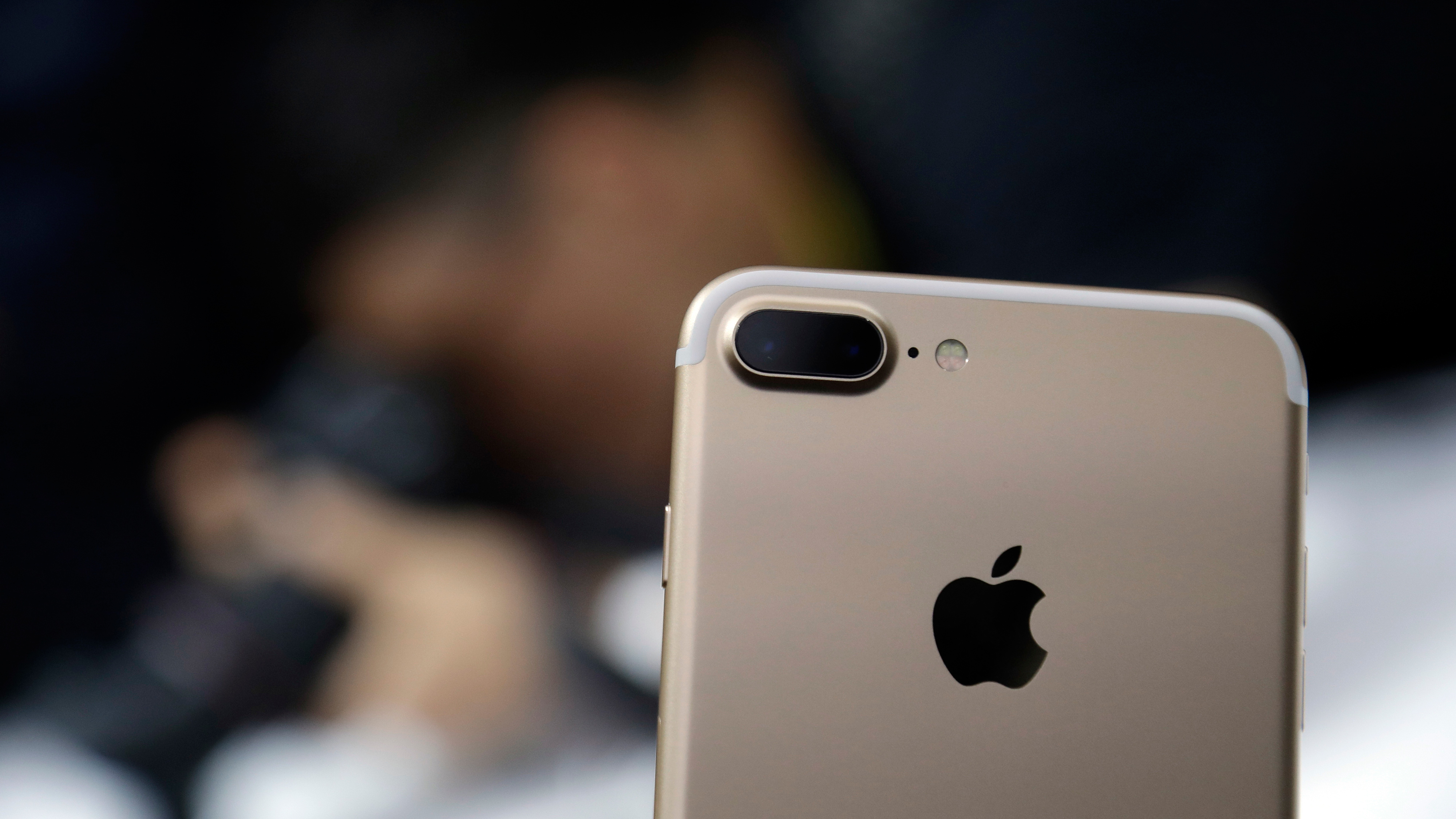 The dual camera feature on an iPhone 7 Plus is shown during an event to announce new Apple products on Wednesday, Sept. 7, 2016, in San Francisco. (AP Photo/Marcio Jose Sanchez)