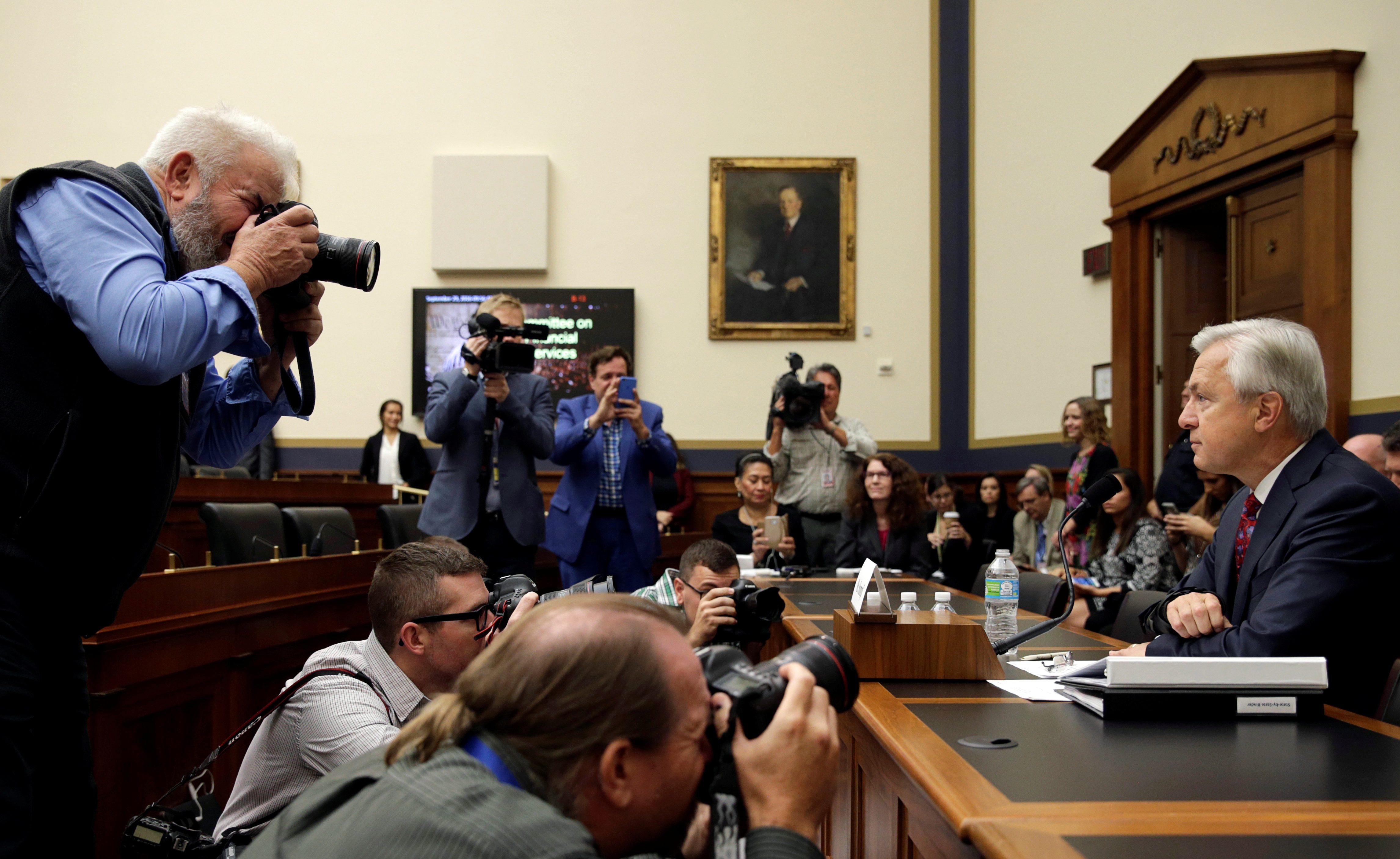 Wells Fargo CEO Stumpf is seen before testifying at the House Financial Services Committee on Capitol Hill in Washington