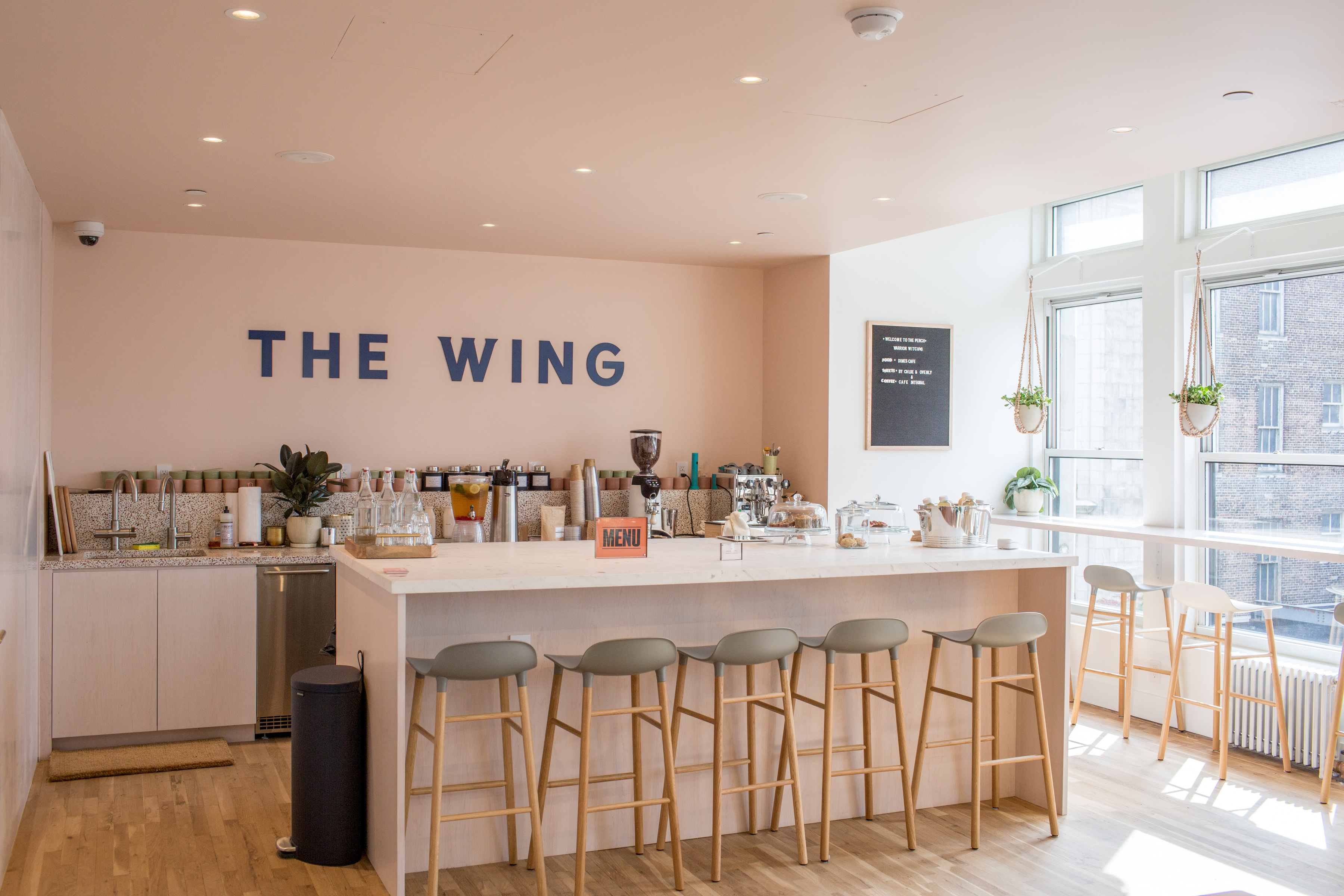 October 20th, 2016. Manhattan, NY. The cafe area. The Wing is a new co-working space for women only located at 45 East 20th street in Manhattan.