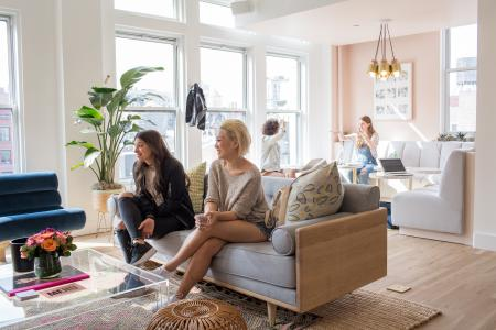 October 20th, 2016. Manhattan, NY. From left, Chase Rosen, Brand Specialist at Nike Womens, and Evelyn Law, Brand Manager at Nike Womens, meet with Wing founders in the space. The Wing is a new co-working space for women only located at 45 East 20th street in Manhattan.