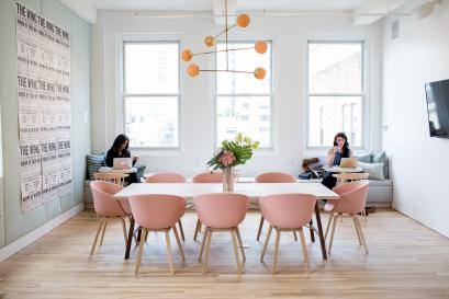 The Wing millennial pink chairs