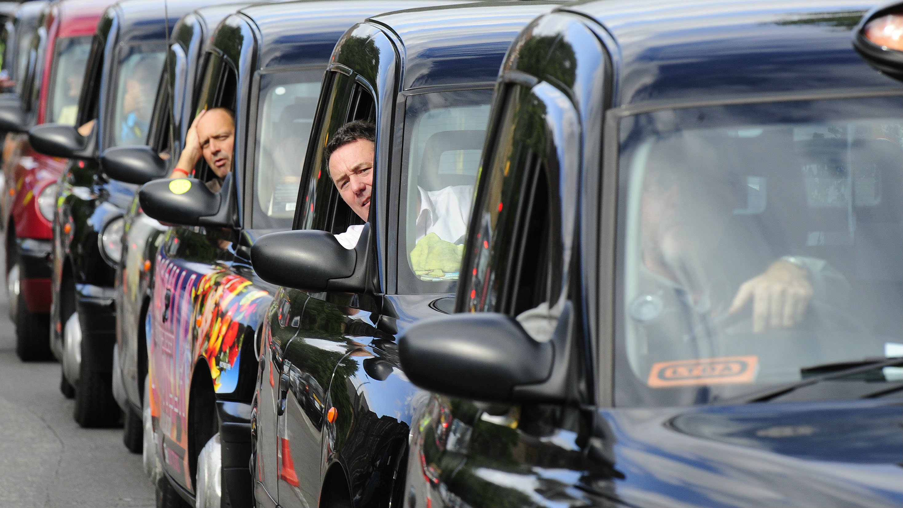 Black cab drivers in London.