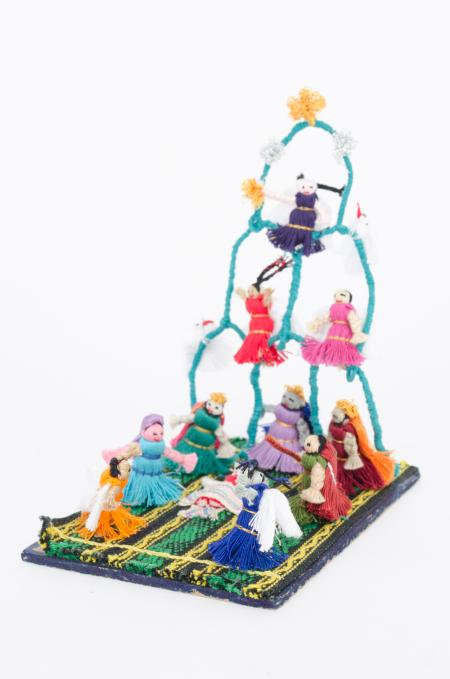 Mexican nativity scene made out of thread
