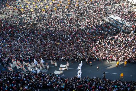 Thousands watch as a Day of the Dead parade arrives to the main Zocalo plaza in Mexico City on Oct. 29.