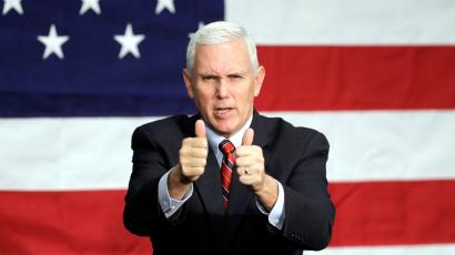 Republican vice presidential candidate, Indiana Gov. Mike Pence reacts following a campaign rally, Friday, Sept. 30, 2016, in Fort Wayne, Ind.