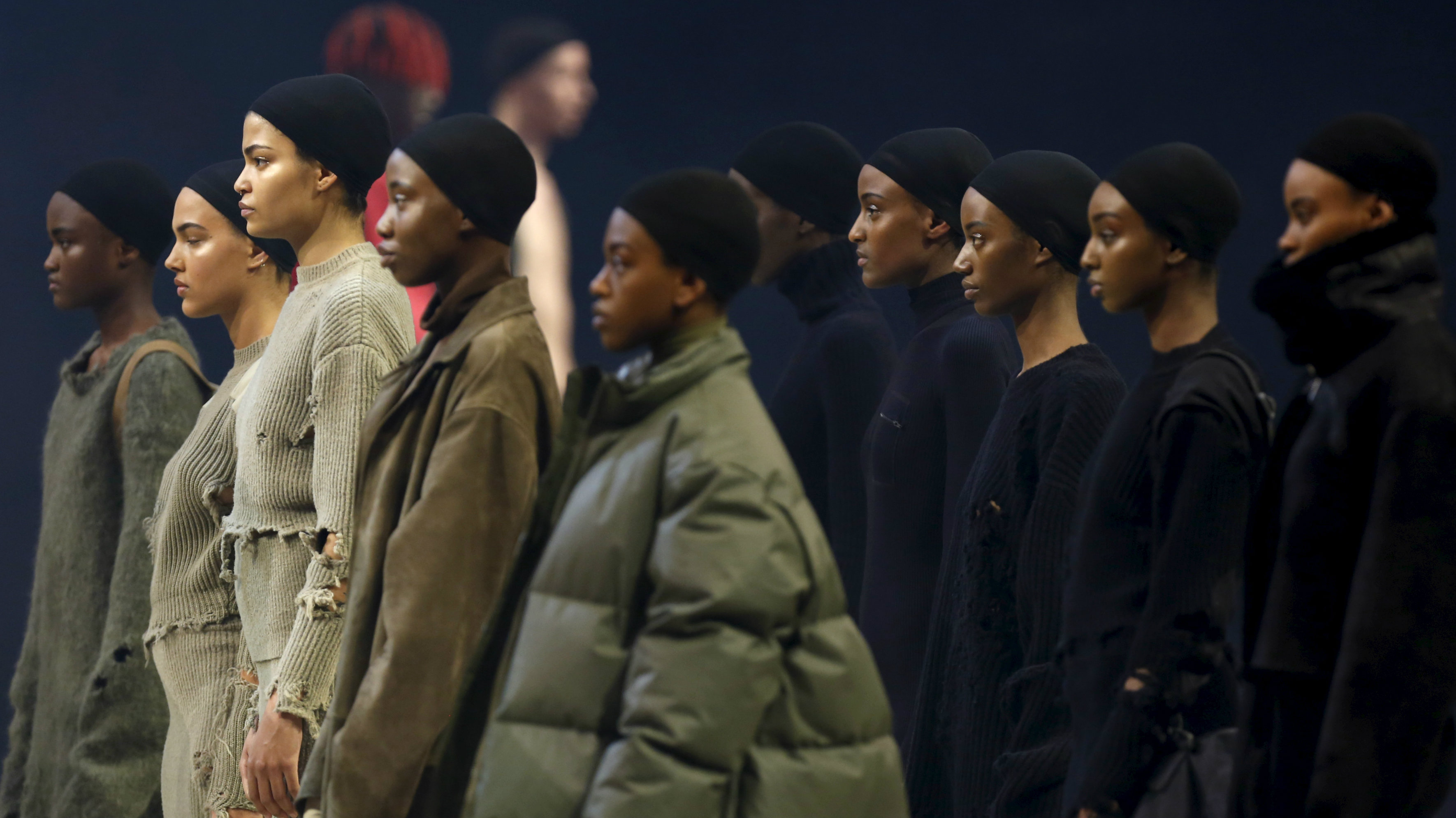 Models from Kanye's fashion week line