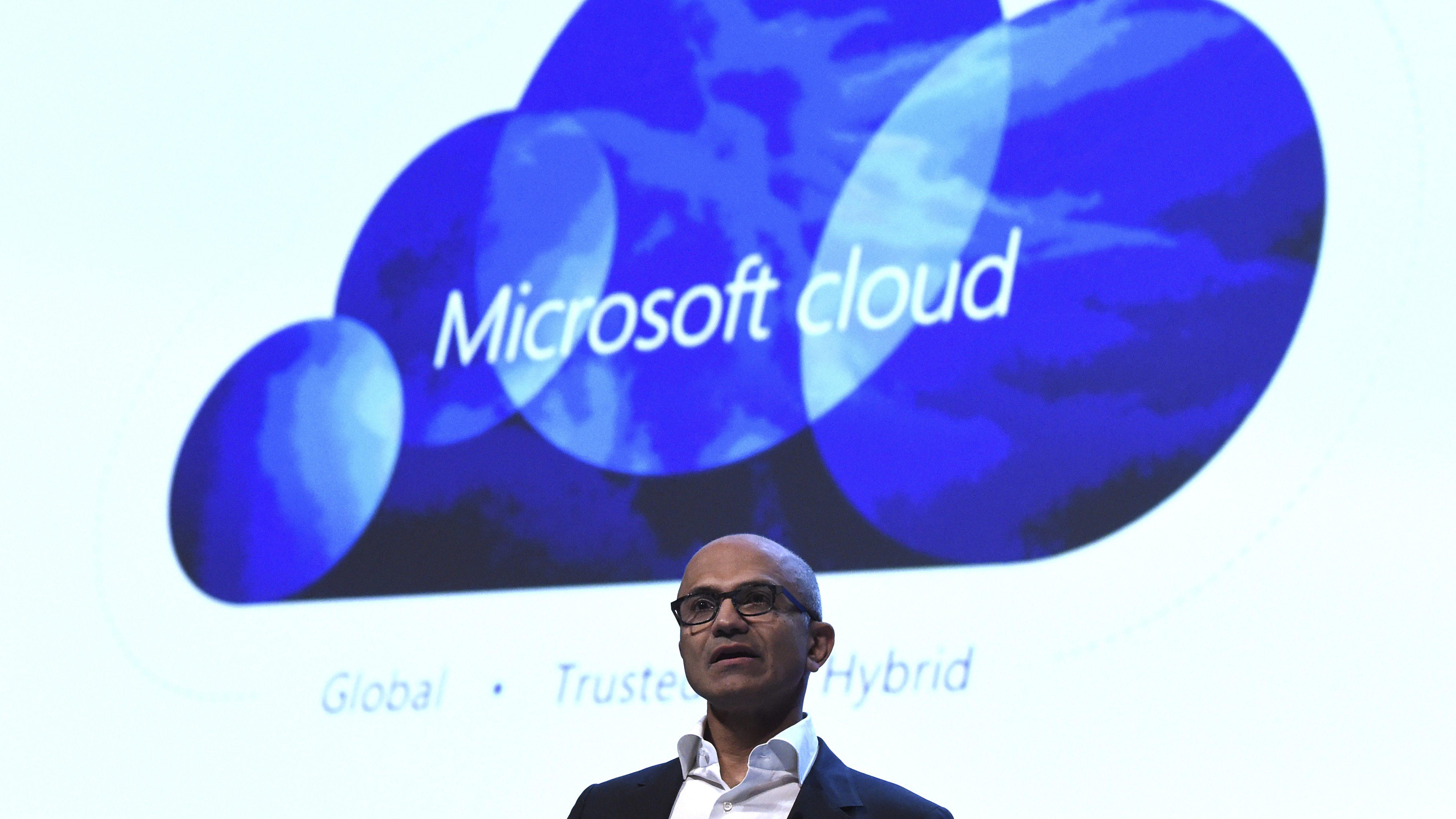 Microsoft CEO Satya Nadella speaks at a Microsoft tech gathering in Dublin, Ireland October 3, 2016.