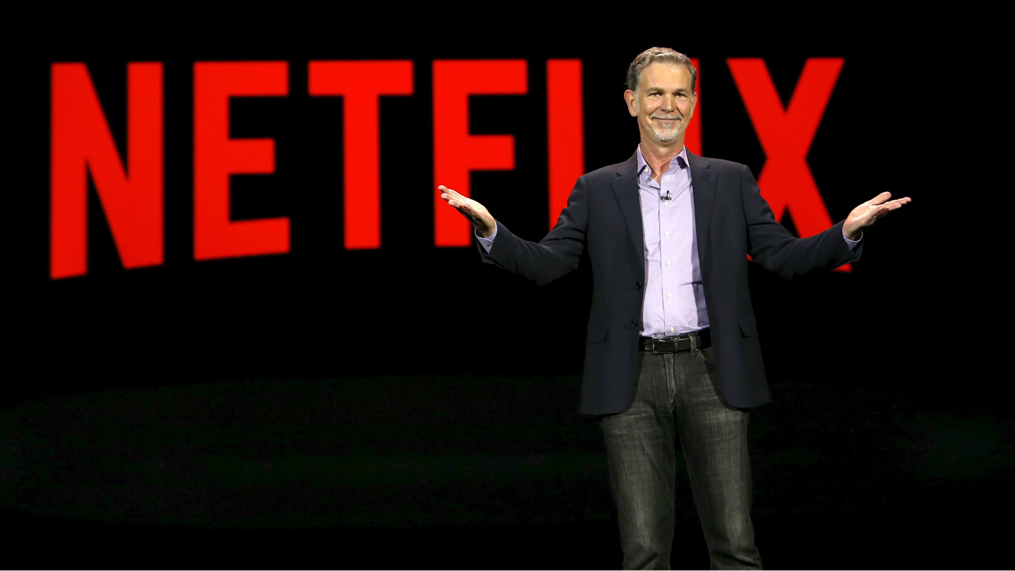 Reed Hastings, co-founder and CEO of Netflix, delivers a keynote address at the 2016 CES trade show in Las Vegas, Nevada in this January 6, 2016