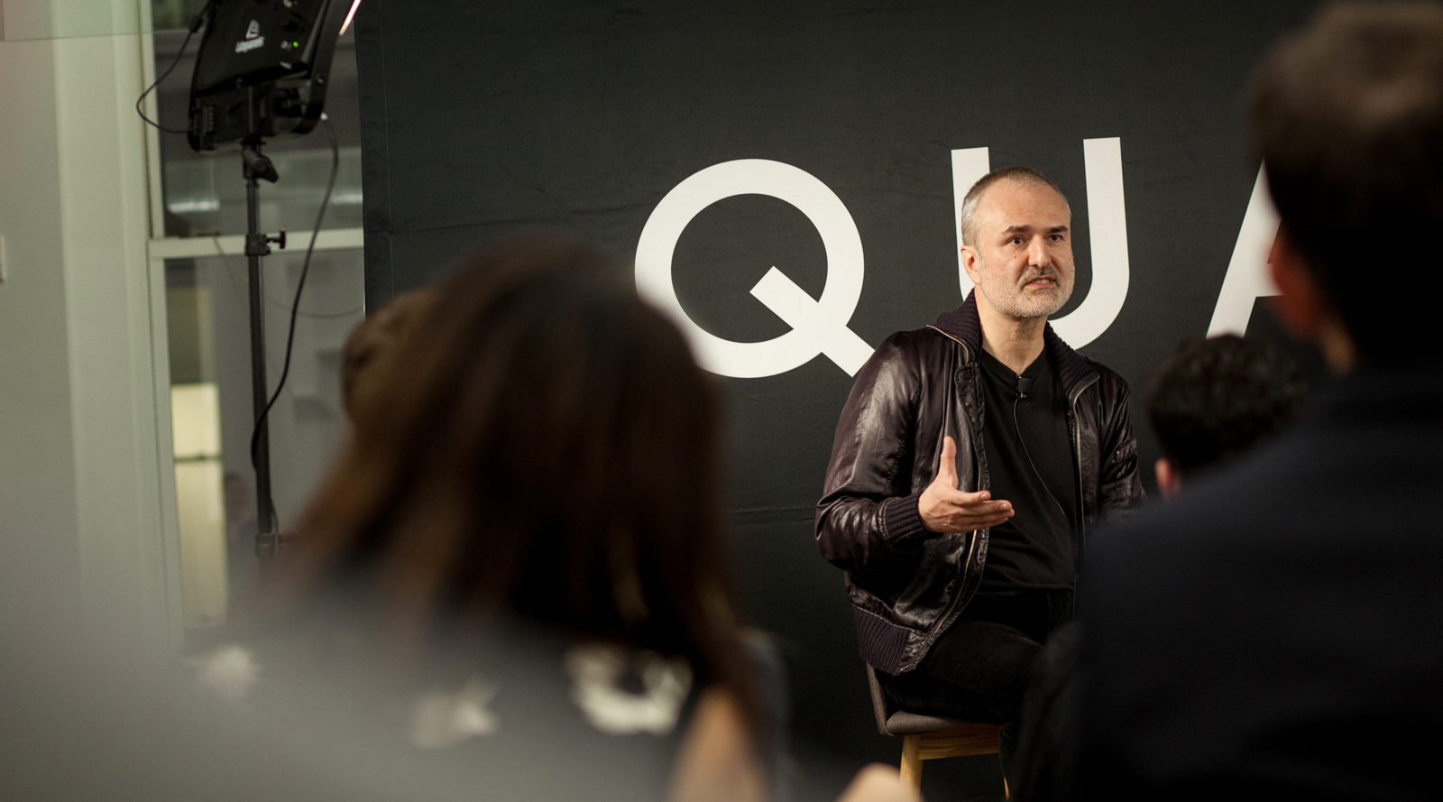 Gawker Media founder Nick Denton participates in a fireside chat with Quartz editor in chief Kevin Delaney at Quartz's New York headquarters.