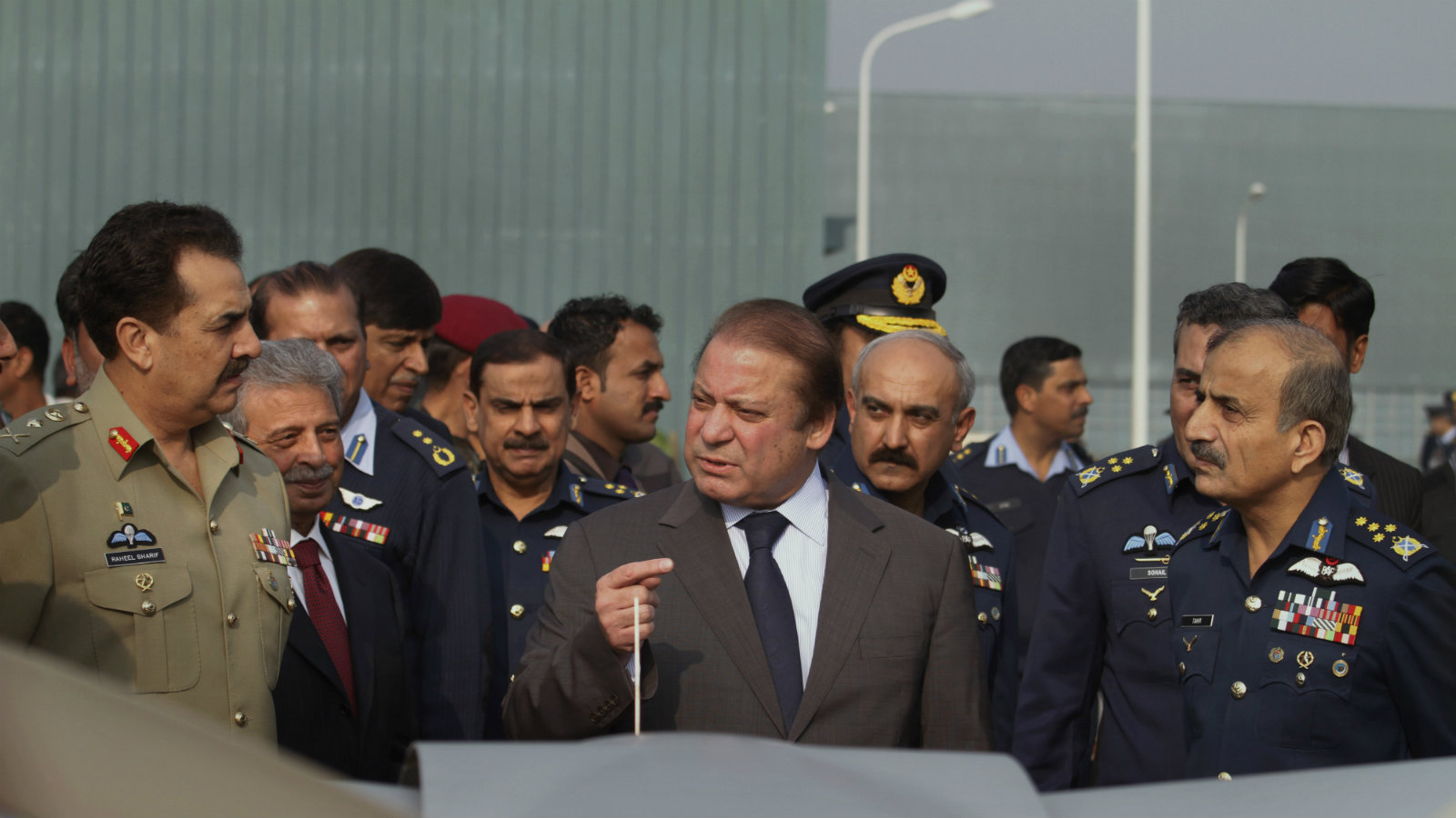 Pakistani prime minister Nawaz Sharif with Pakistan Army chief Gen. Raheel Sharif (left) at the Kamra air base.