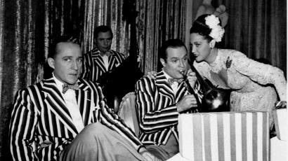 """Bing Crosby, left, Bob Hope and Dorothy Lamour are shown in a scene from the 1948 film """"The Road to Rio."""""""