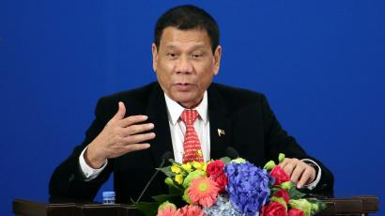 Philippines President Rodrigo Duterte makes a speech in Beijing.