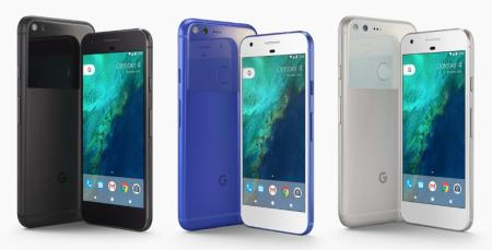 The Google Pixel XL in three colors: black, blue and white.