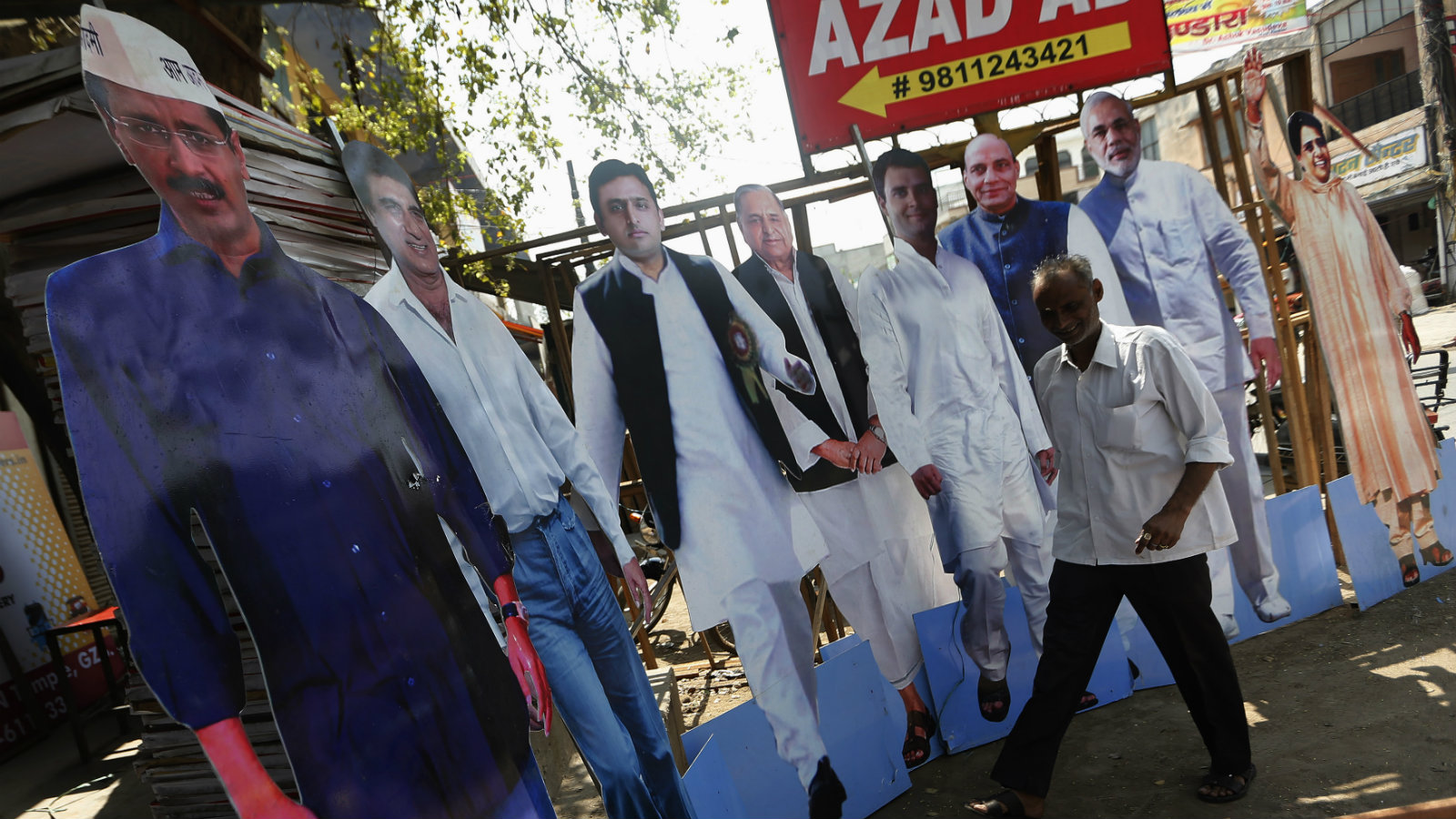 Cut-outs of major Indian political leaders on display in Ghaziabad, on the outskirts of New Delhi, in March 2014.