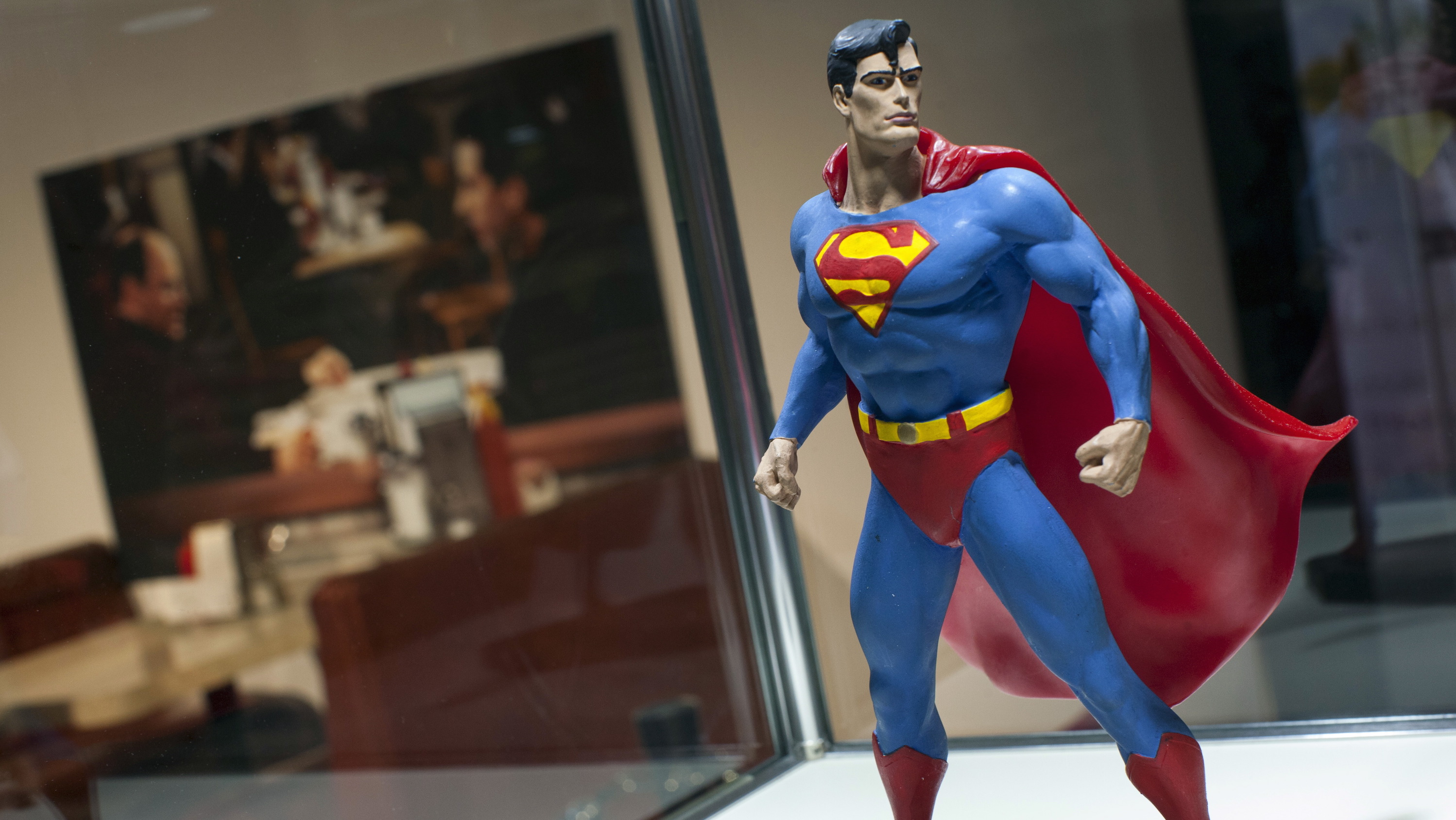 """A Superman figure from the original set of the """"Seinfeld"""" television comedy series is seen on display at Hulu's """"Seinfeld: The Apartment"""", a temporary exhibit on West 14th street in the Manhattan borough of New York City"""