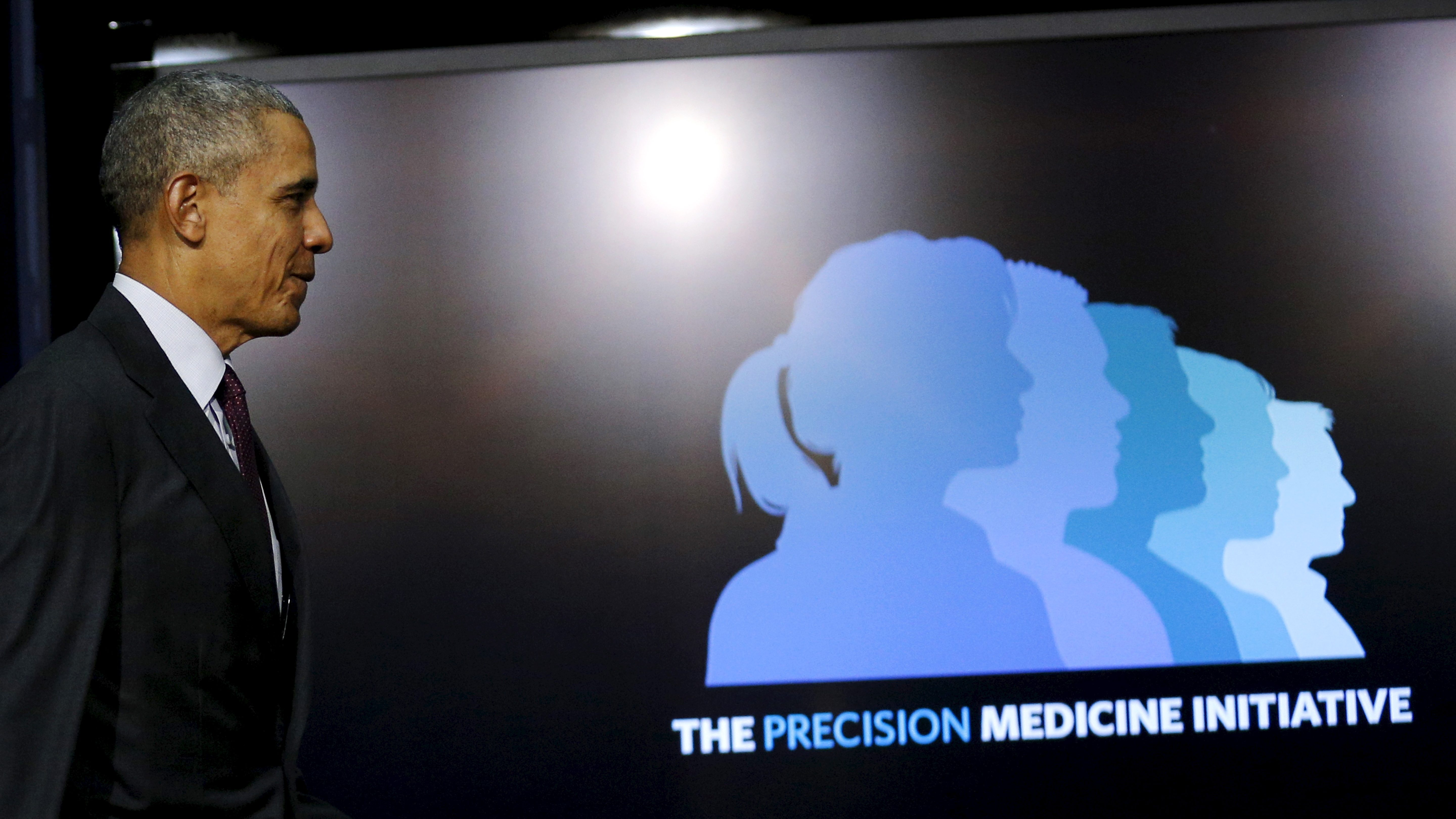 U.S. President Barack Obama arrives to participate in a panel discussion as part of the White House Precision Medicine Initiative (PMI) Summit in Washington February 25, 2016.