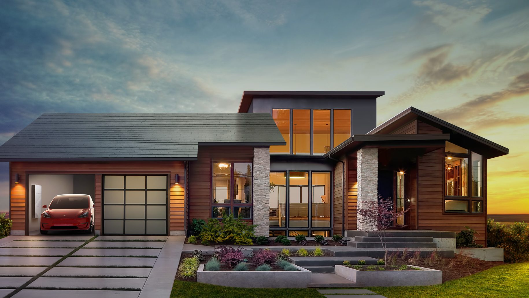 Tesla's solar roof design.