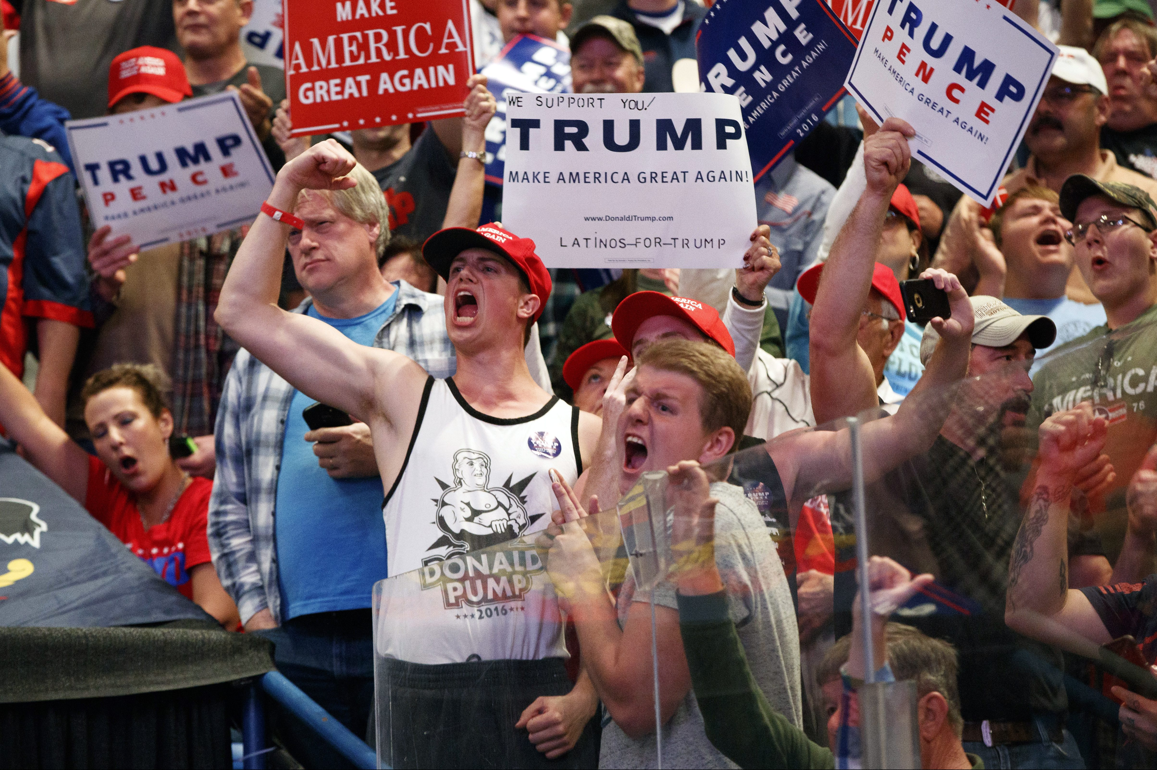Supporters cheer for Republican presidential candidate Donald Trump cheer during a rally, Monday, Oct. 10, 2016, in Wilkes-Barre, Pa.
