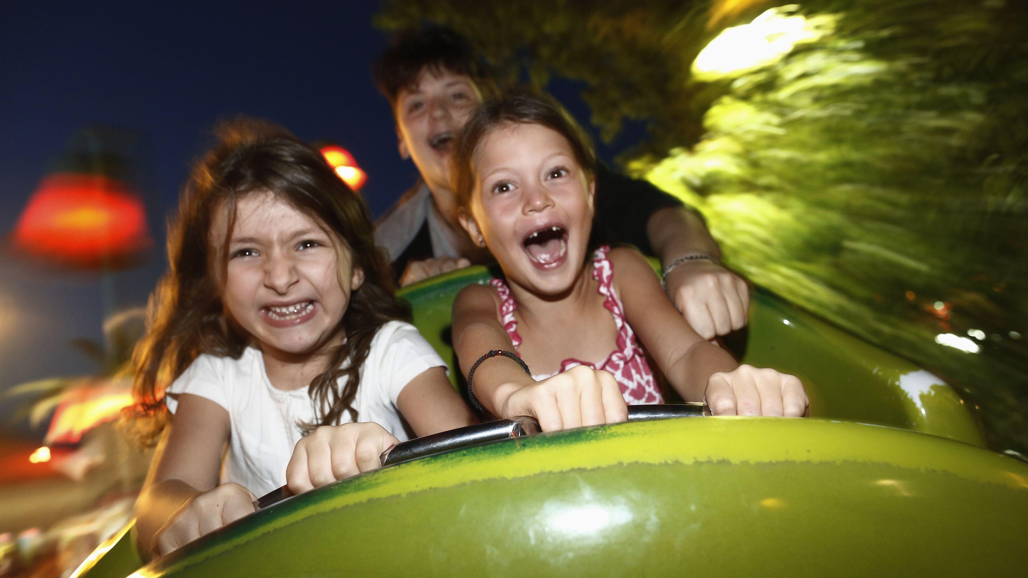 Roller coaster children happy